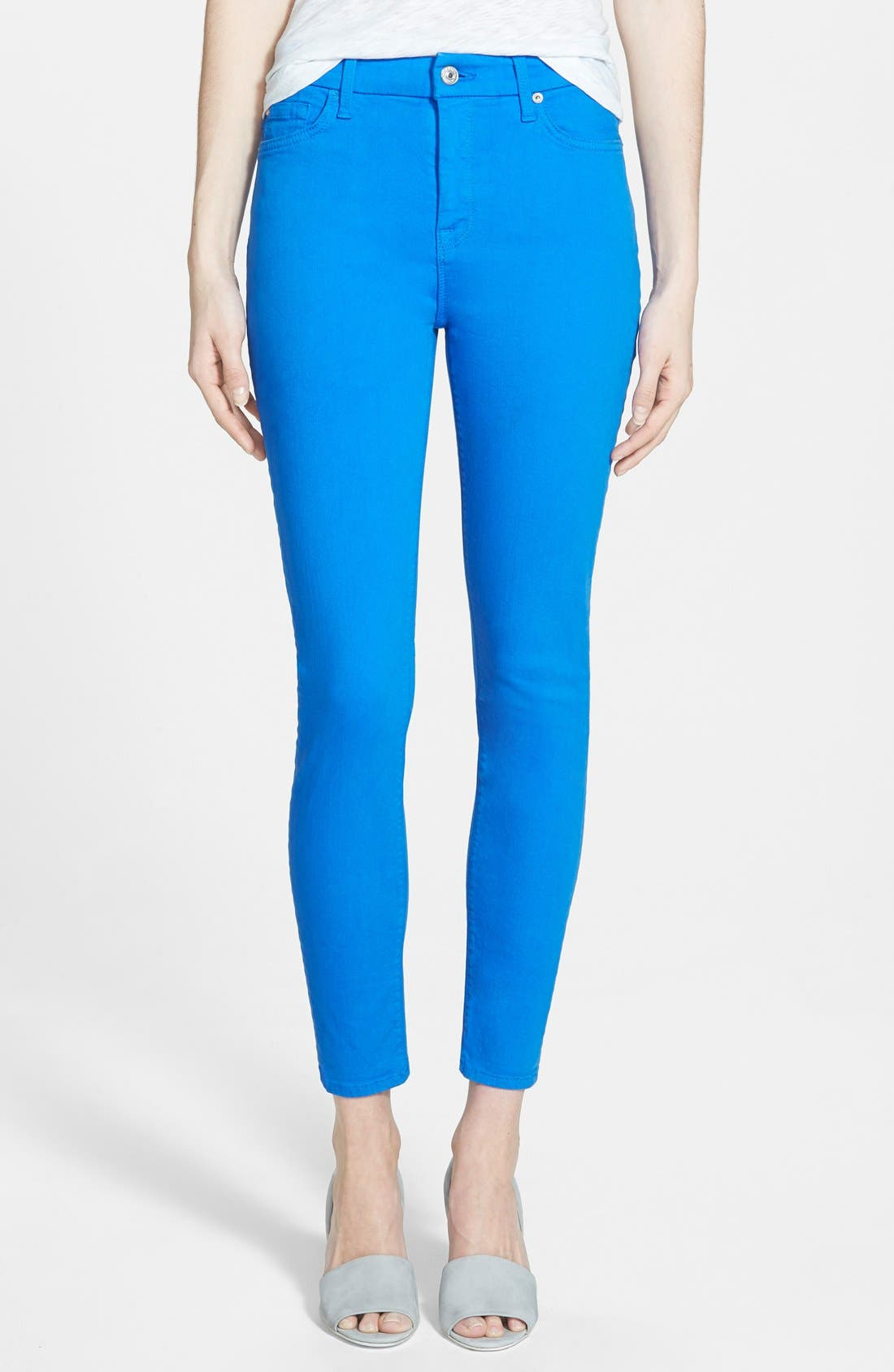 Alternate Image 1 Selected - 7 For All Mankind® High Rise Ankle Skinny Jeans (Ultramarine)