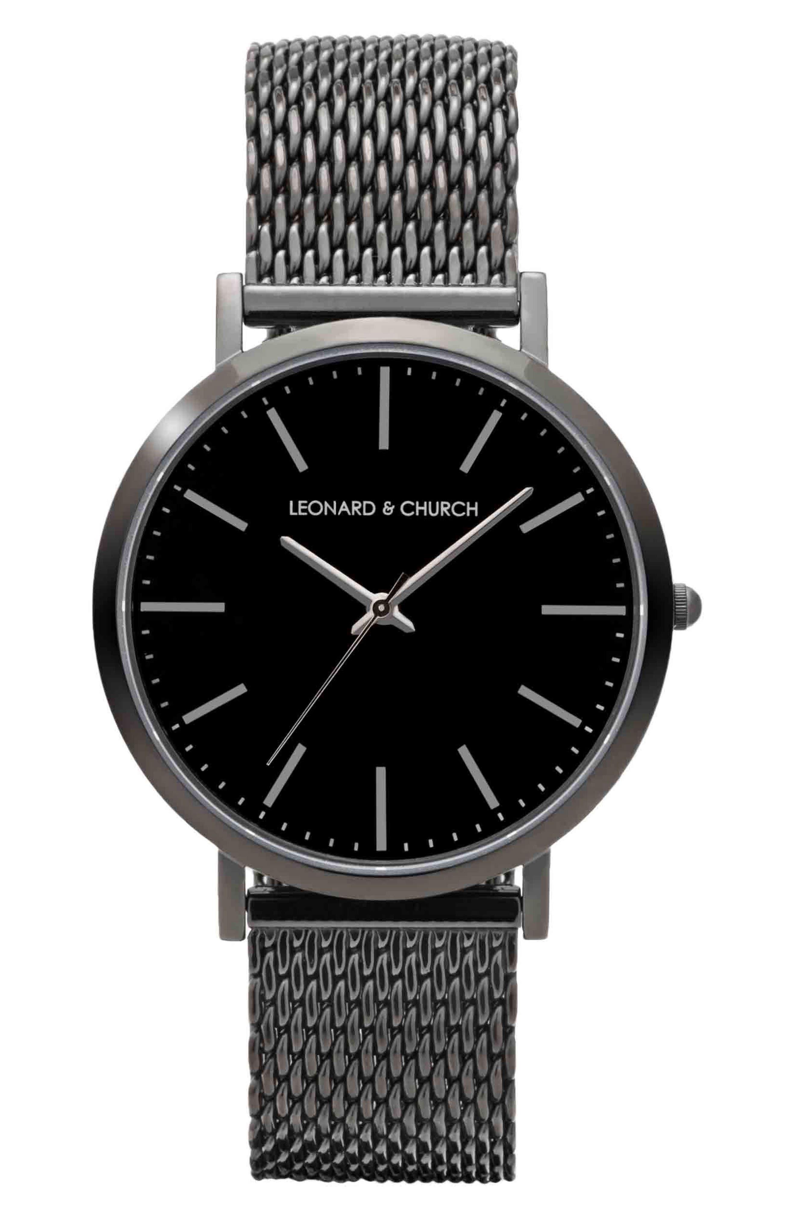 Leonard & Church Essex Mesh Strap Watch, 40mm