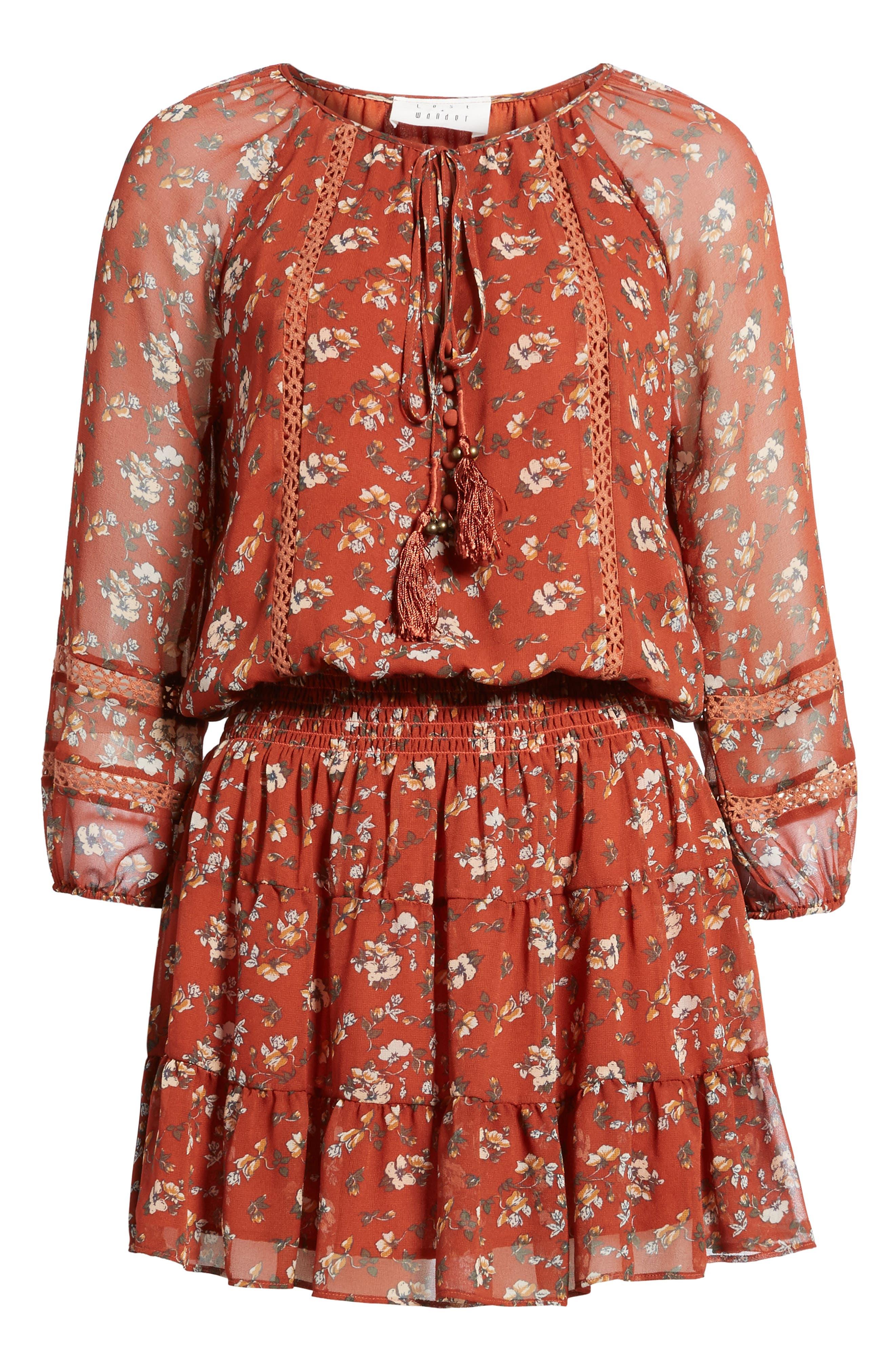 Le Marais Floral Print Dress,                             Alternate thumbnail 6, color,                             Rust
