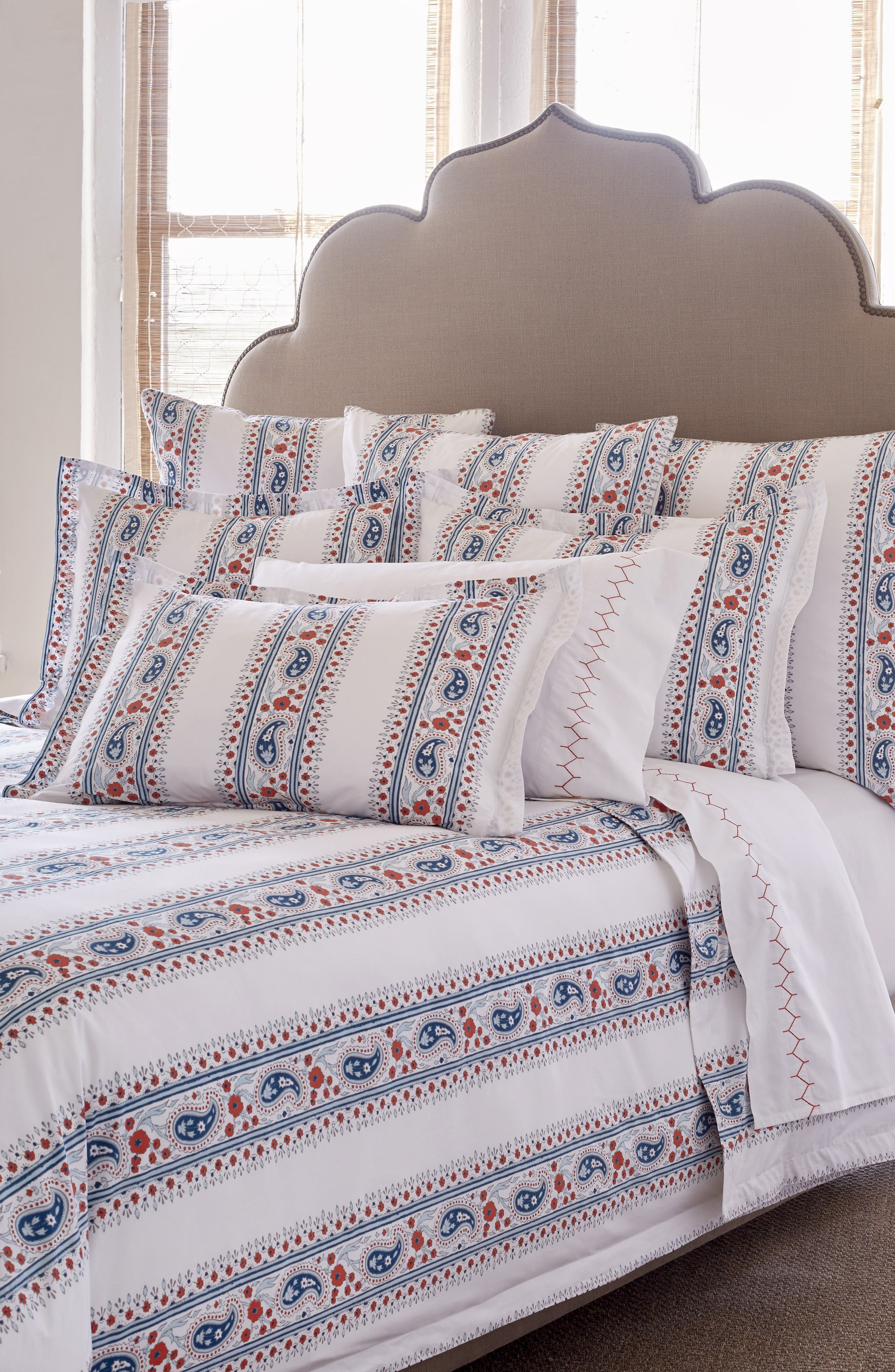 Dassi Duvet Cover,                             Main thumbnail 1, color,                             Coral/ Teal/ White