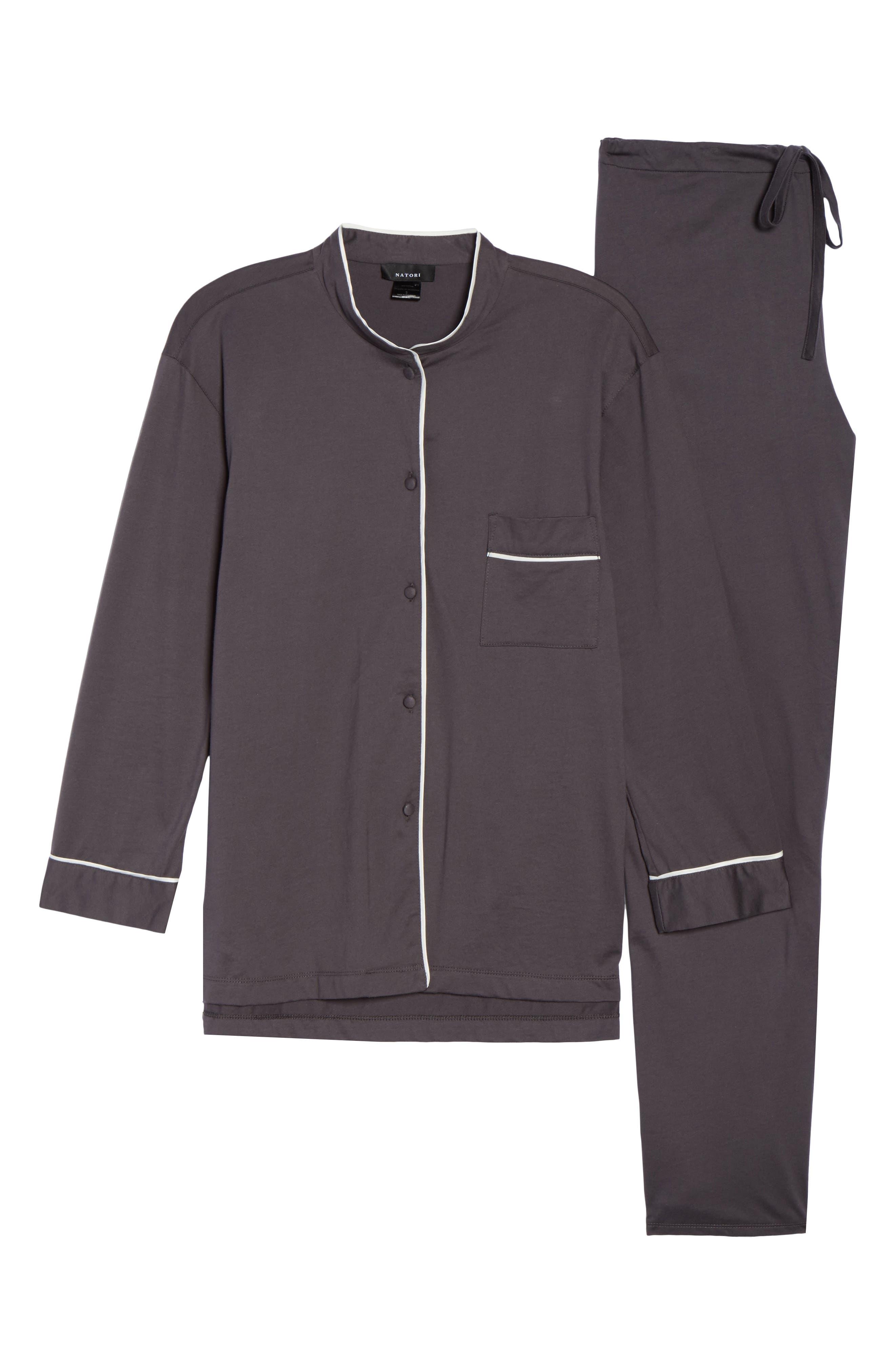 Bliss Supima<sup>®</sup> Cotton Mandarin Pajamas,                             Alternate thumbnail 6, color,                             Graphite