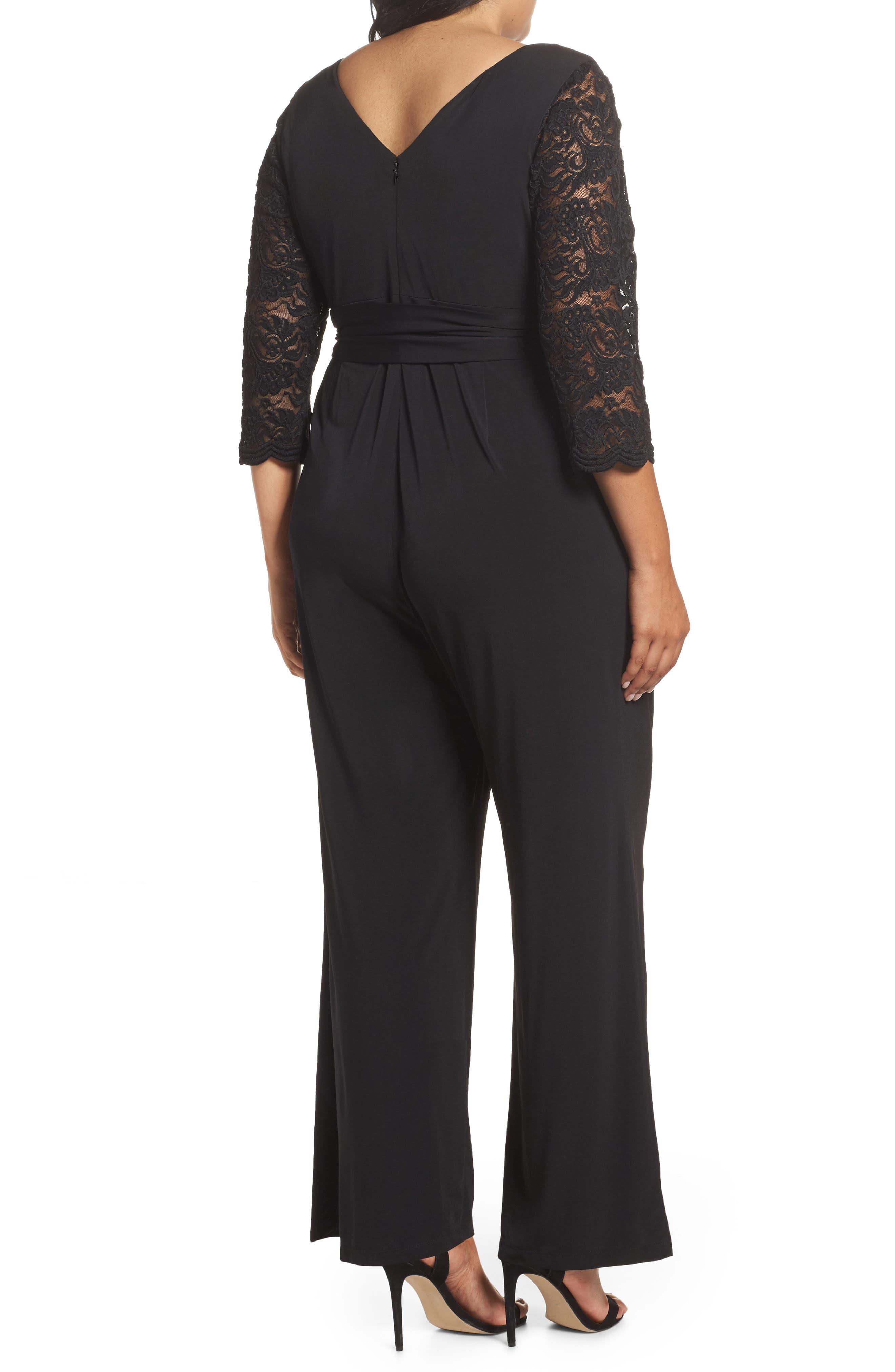 Lace Sleeve Jumpsuit,                             Alternate thumbnail 2, color,                             Black