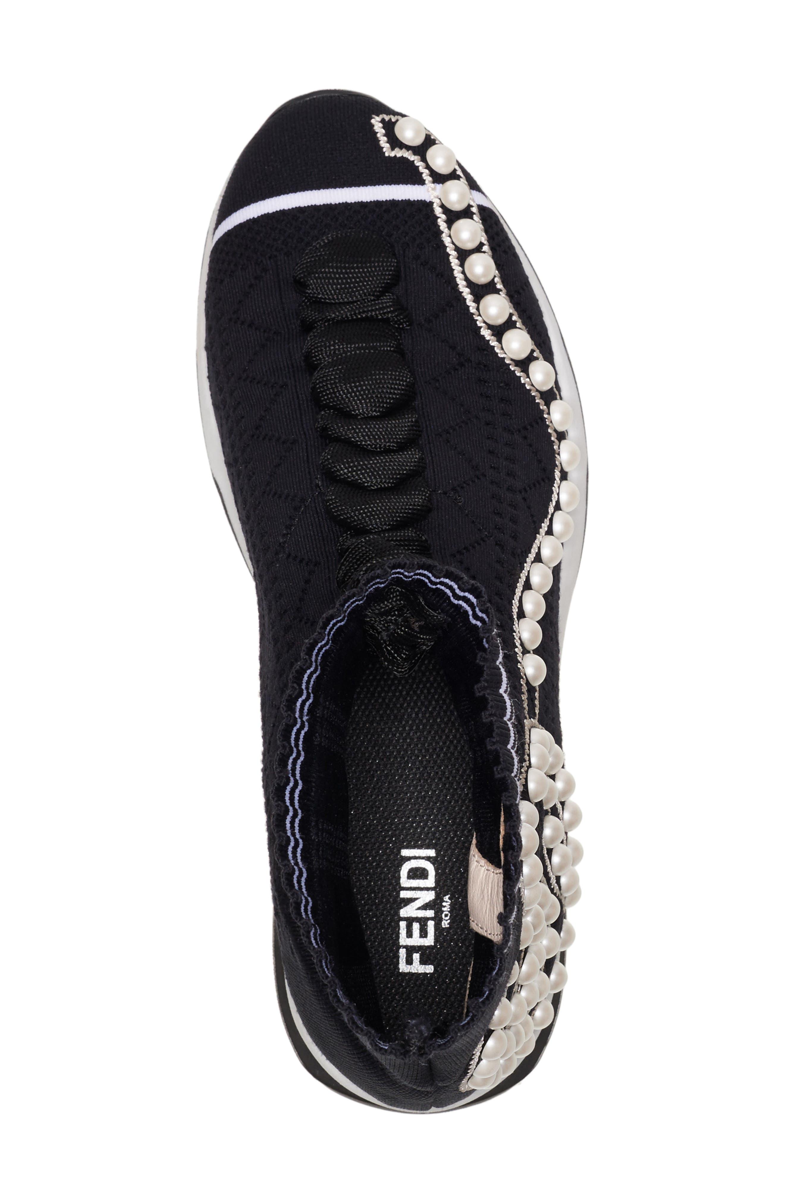 Rockoko Pearland Embellished Sock Sneaker,                             Alternate thumbnail 5, color,                             Black
