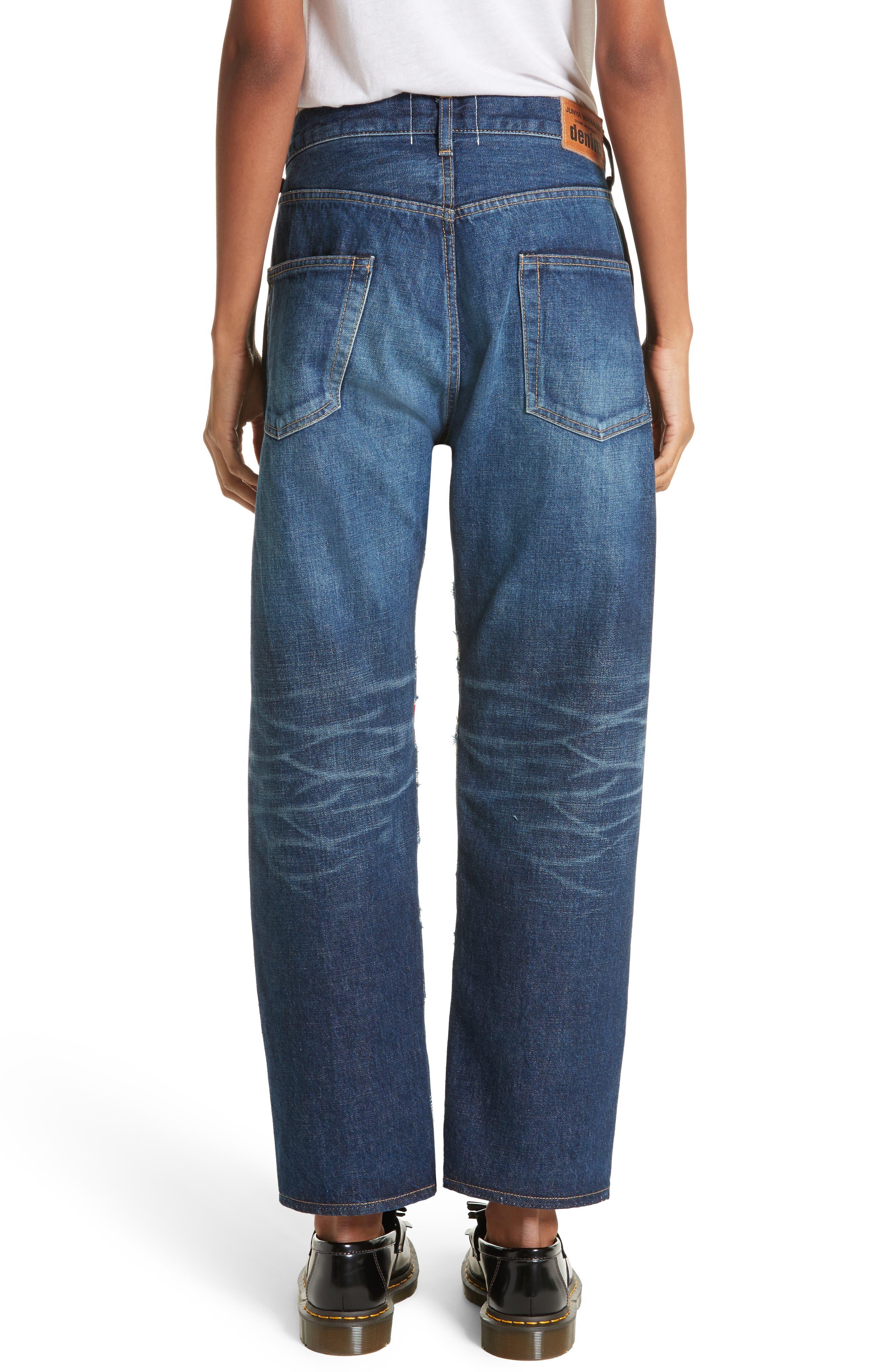 Distressed Patch Jeans,                             Alternate thumbnail 2, color,                             Indigo X Mix