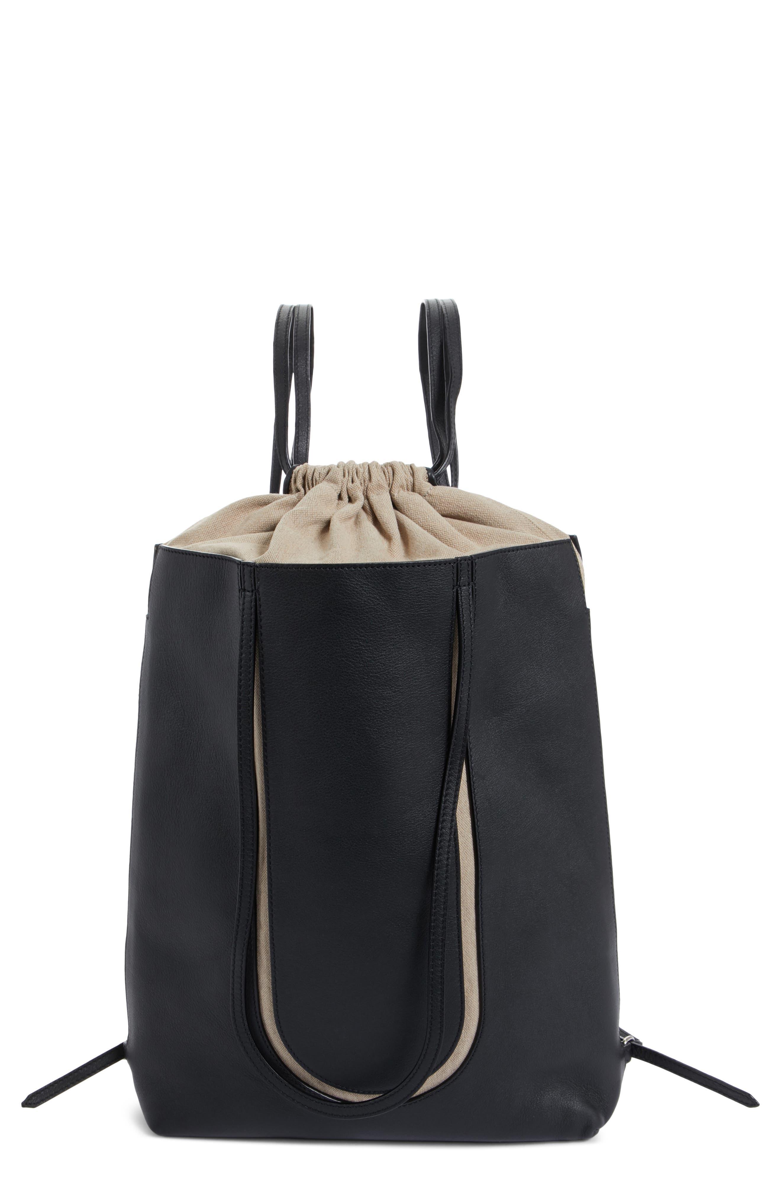 Calfskin Leather Backpack,                         Main,                         color, Black