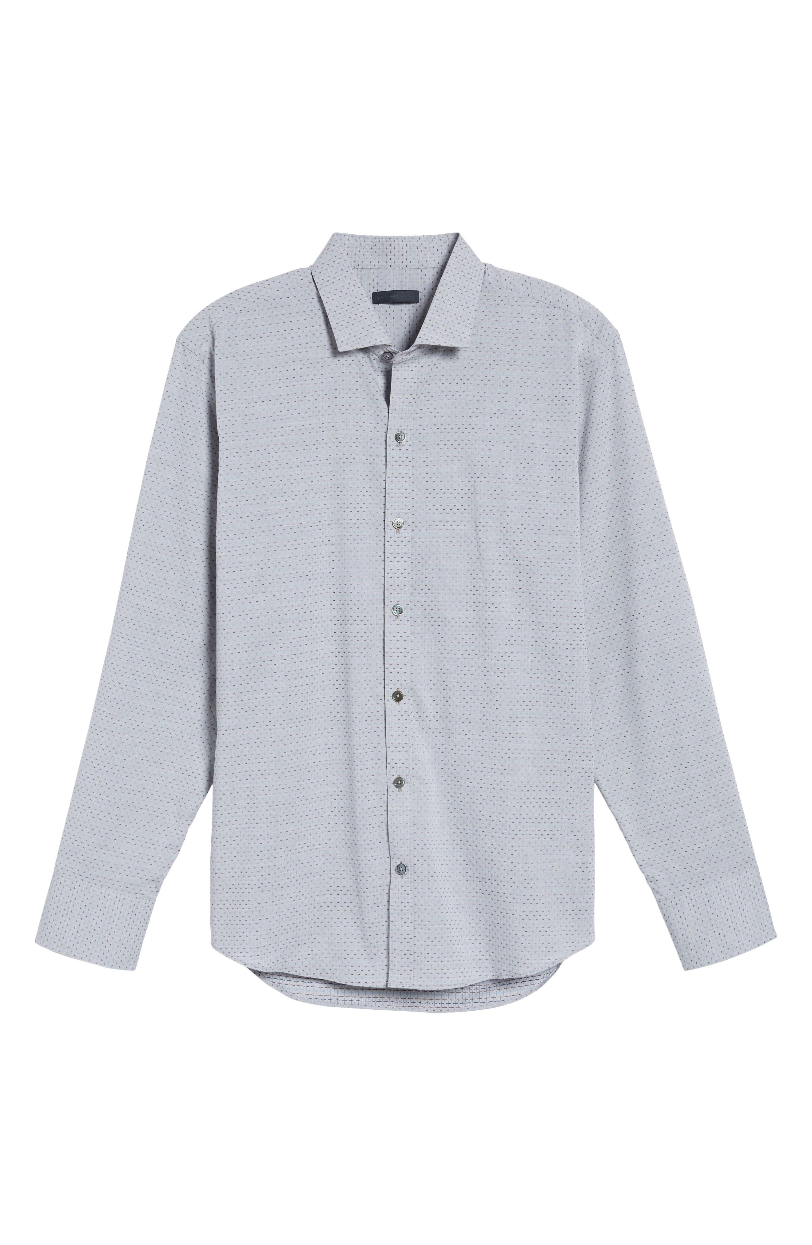 Atila Slim Fit Dobby Woven Sport Shirt,                             Alternate thumbnail 6, color,                             Light Grey