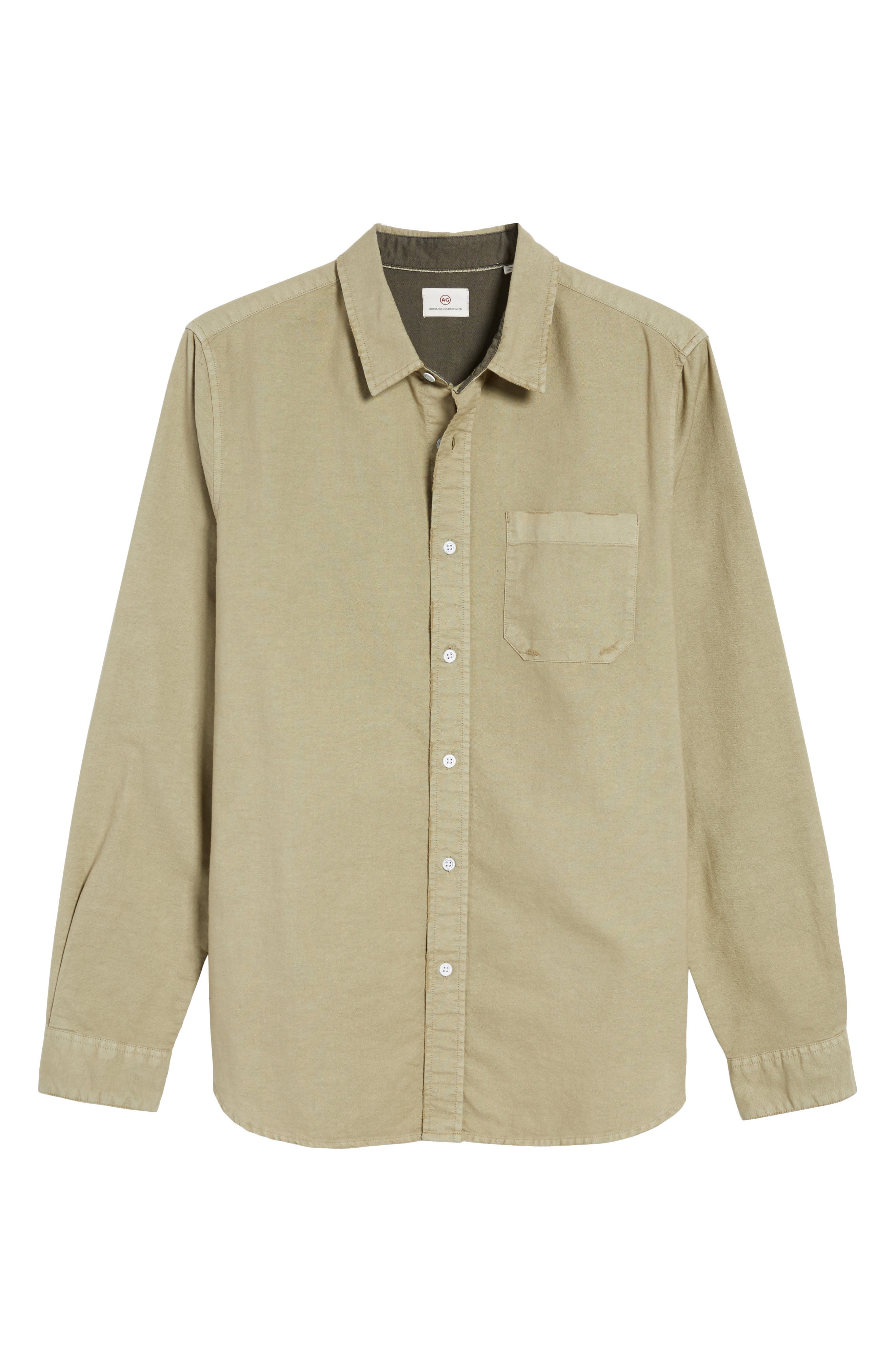 Caleb Slim Fit Twill Sport Shirt,                             Alternate thumbnail 6, color,                             5 Years Pigment New Moss