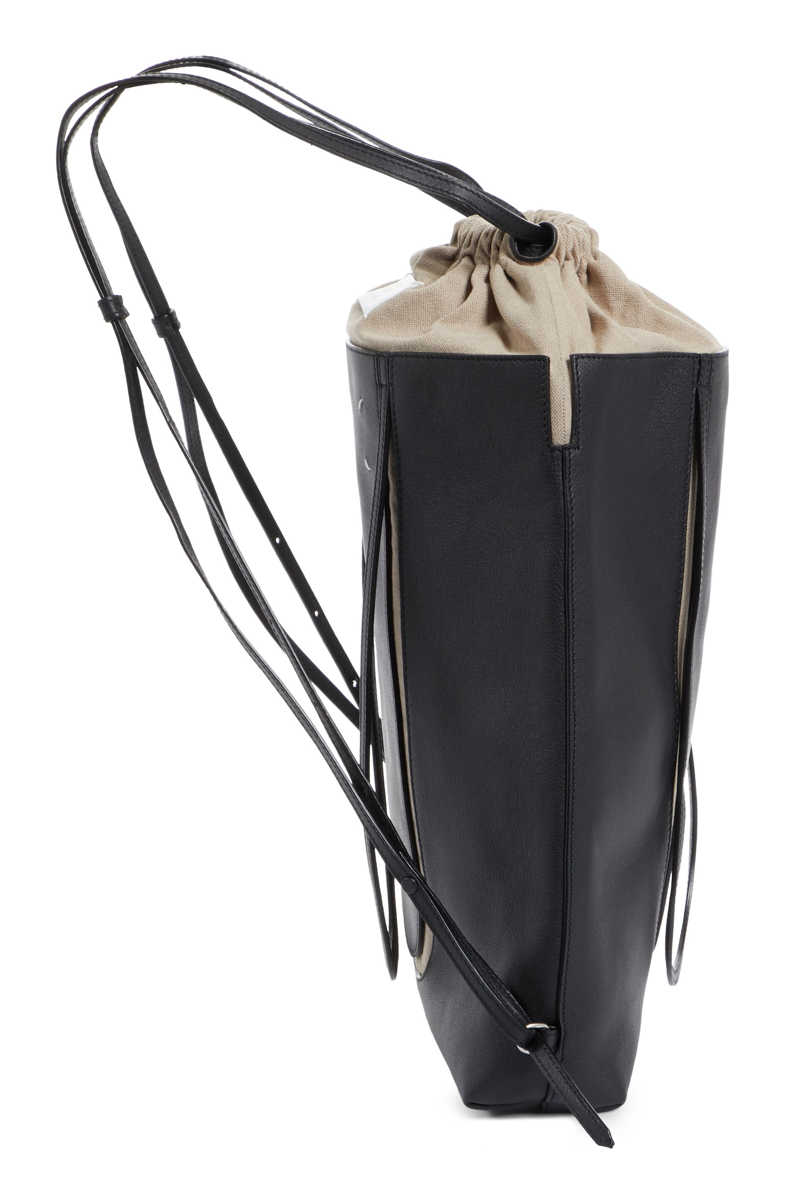 Calfskin Leather Backpack,                             Alternate thumbnail 5, color,                             Black