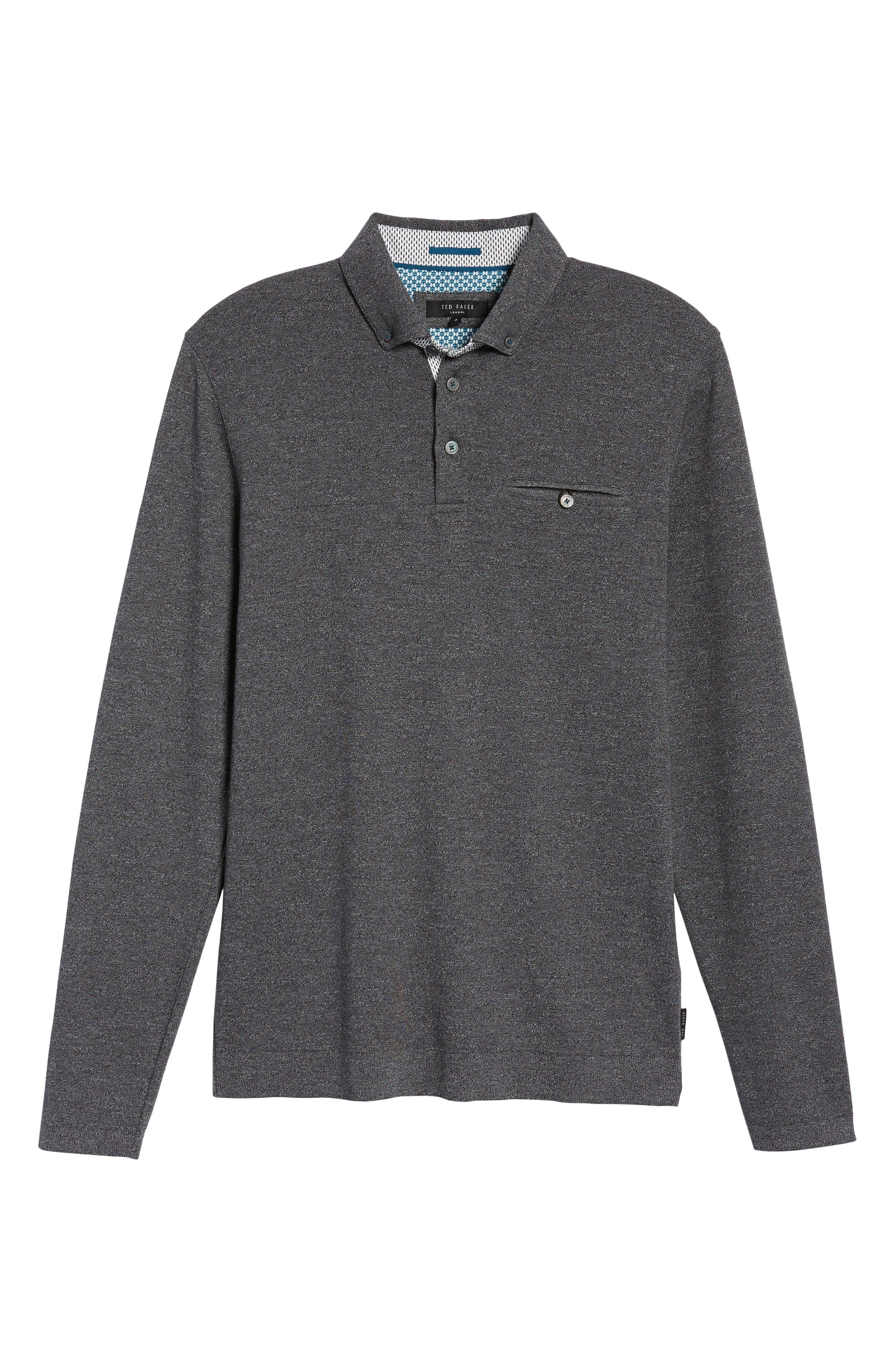 Yamway Modern Slim Fit Long Sleeve Polo,                             Alternate thumbnail 6, color,                             Black