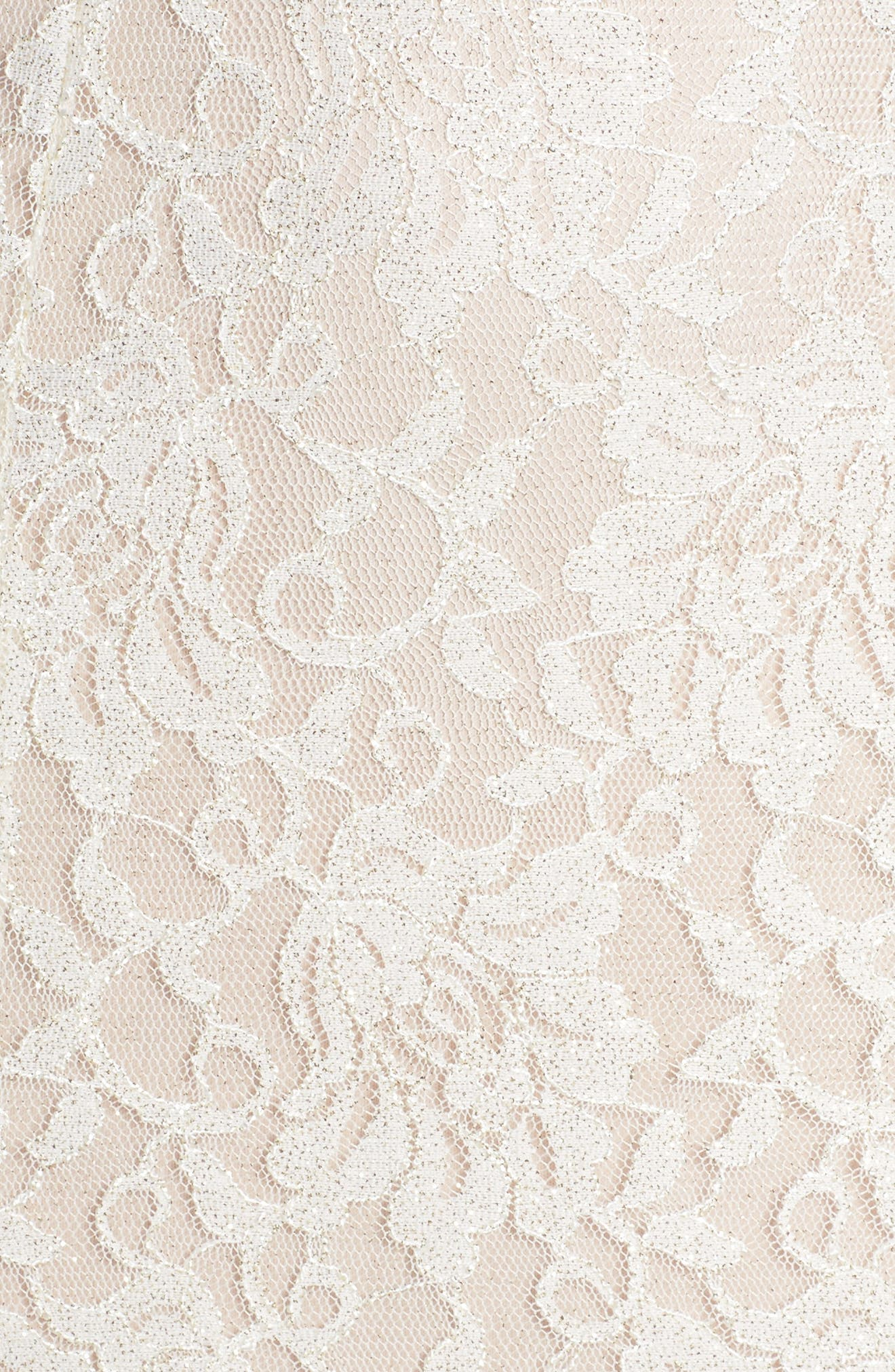 Scallop Detail Lace Gown,                             Alternate thumbnail 5, color,                             Ivory/ Nude