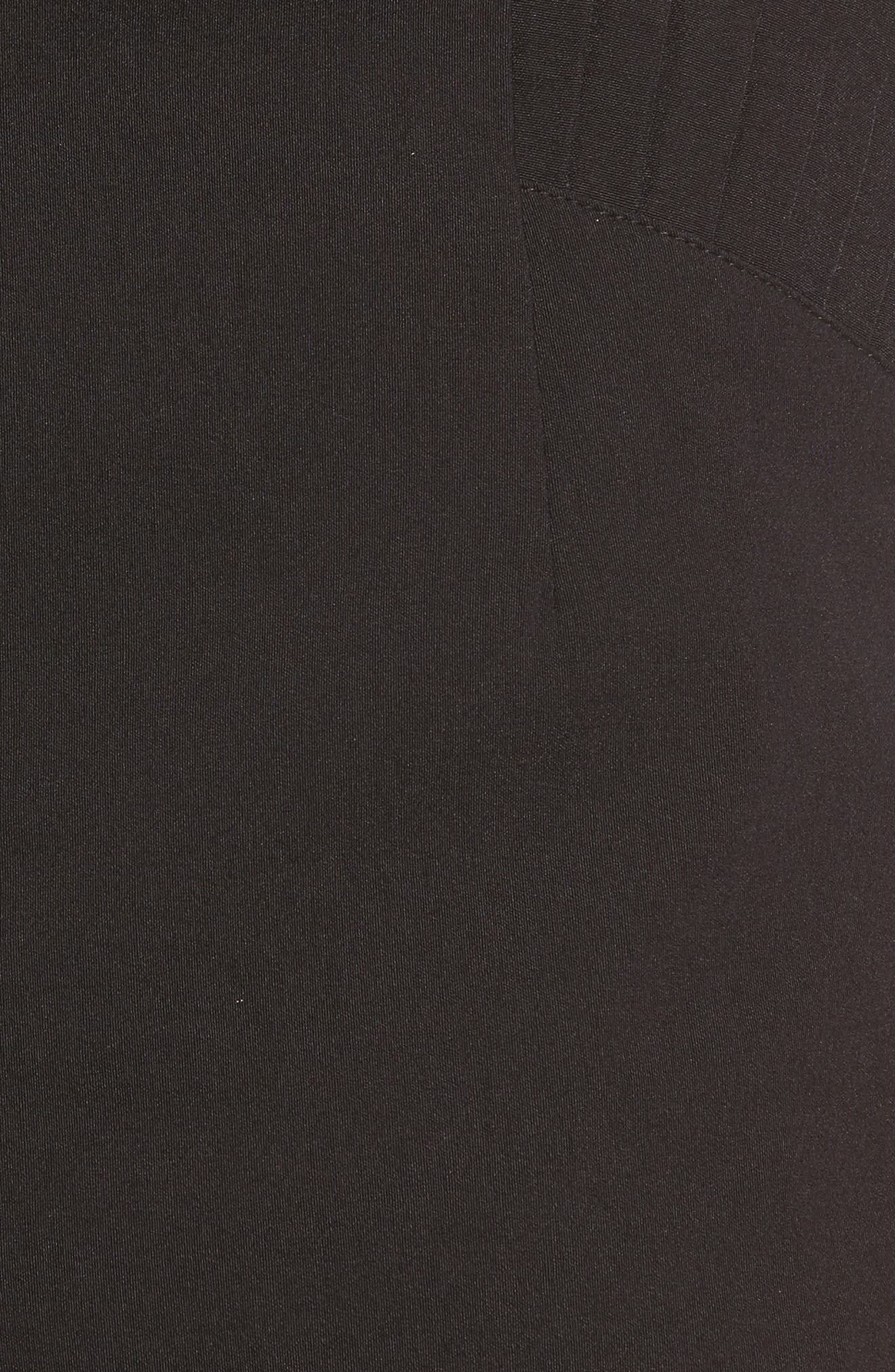 Pleat Trim High Waist Shorts,                             Alternate thumbnail 5, color,                             Black