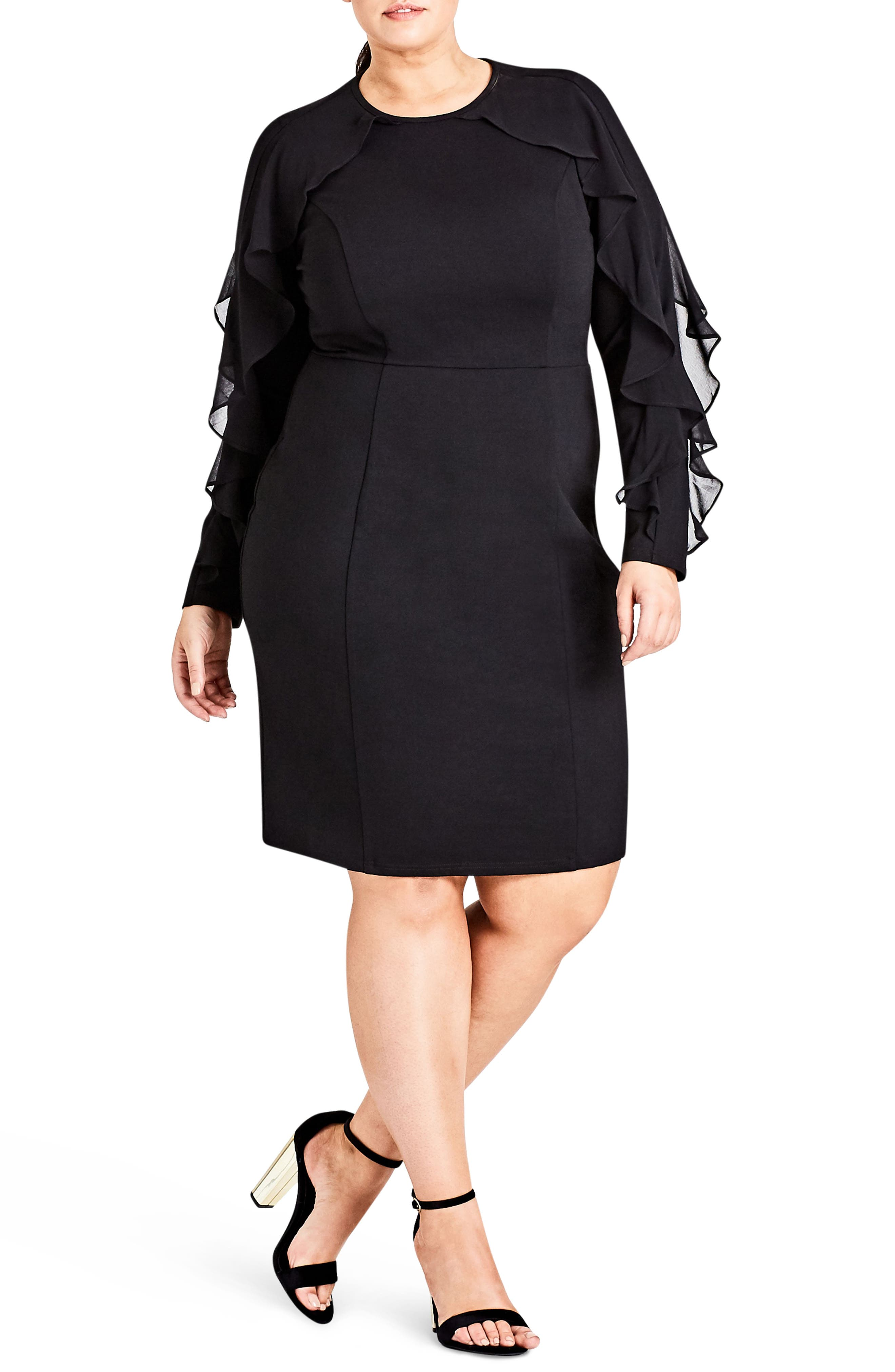 Chic City Romantic Sleeve Sheath Dress,                             Main thumbnail 1, color,                             Black