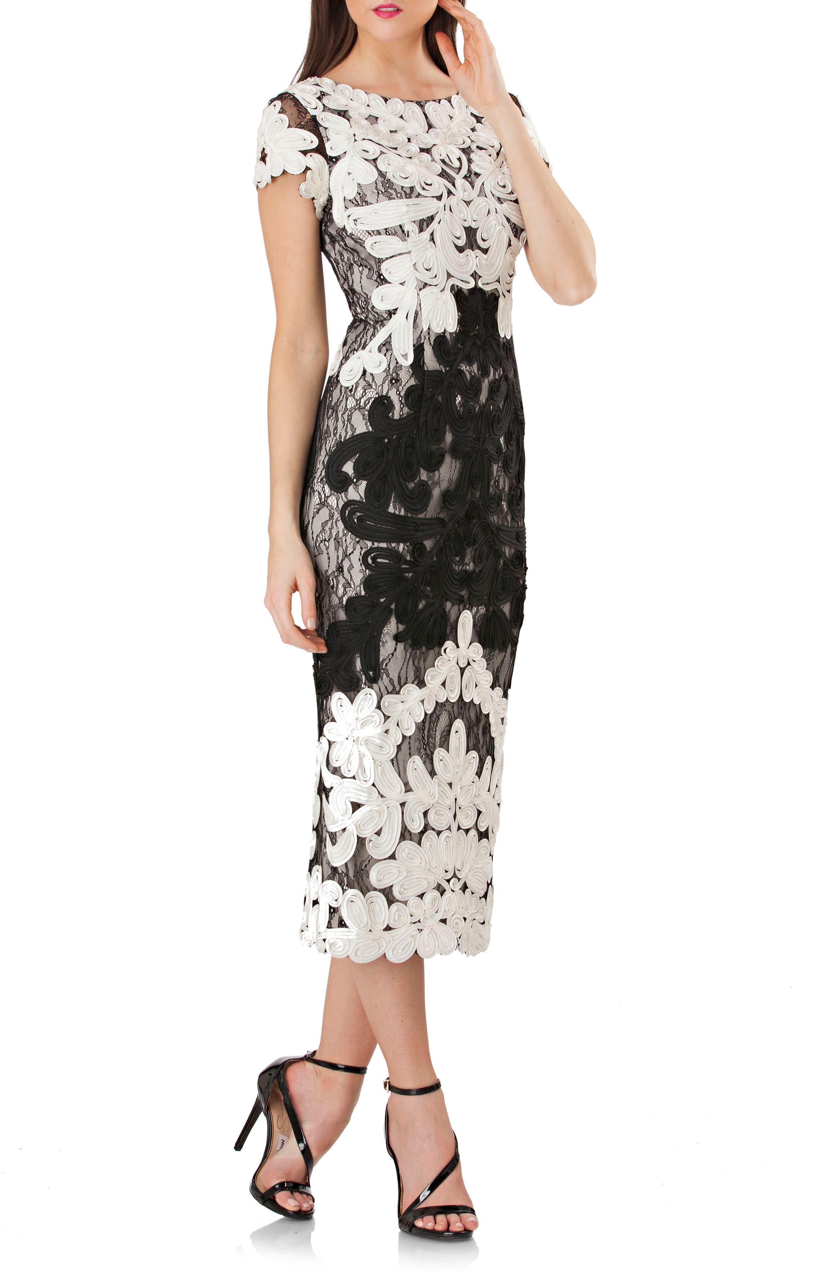 Alternate Image 2  - JS Collections Soutache Lace Midi Dress