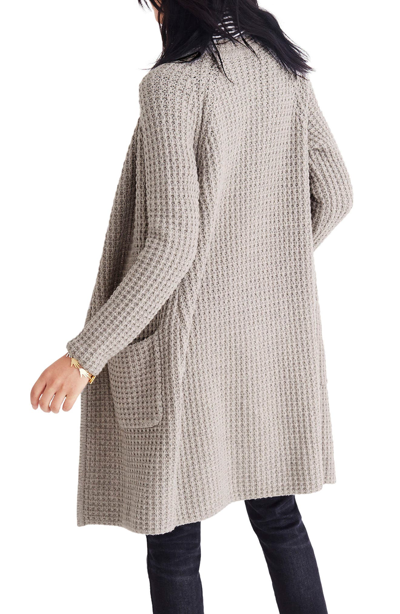 Waffle Stitch Sweater Jacket,                             Alternate thumbnail 2, color,                             Silver Cloud