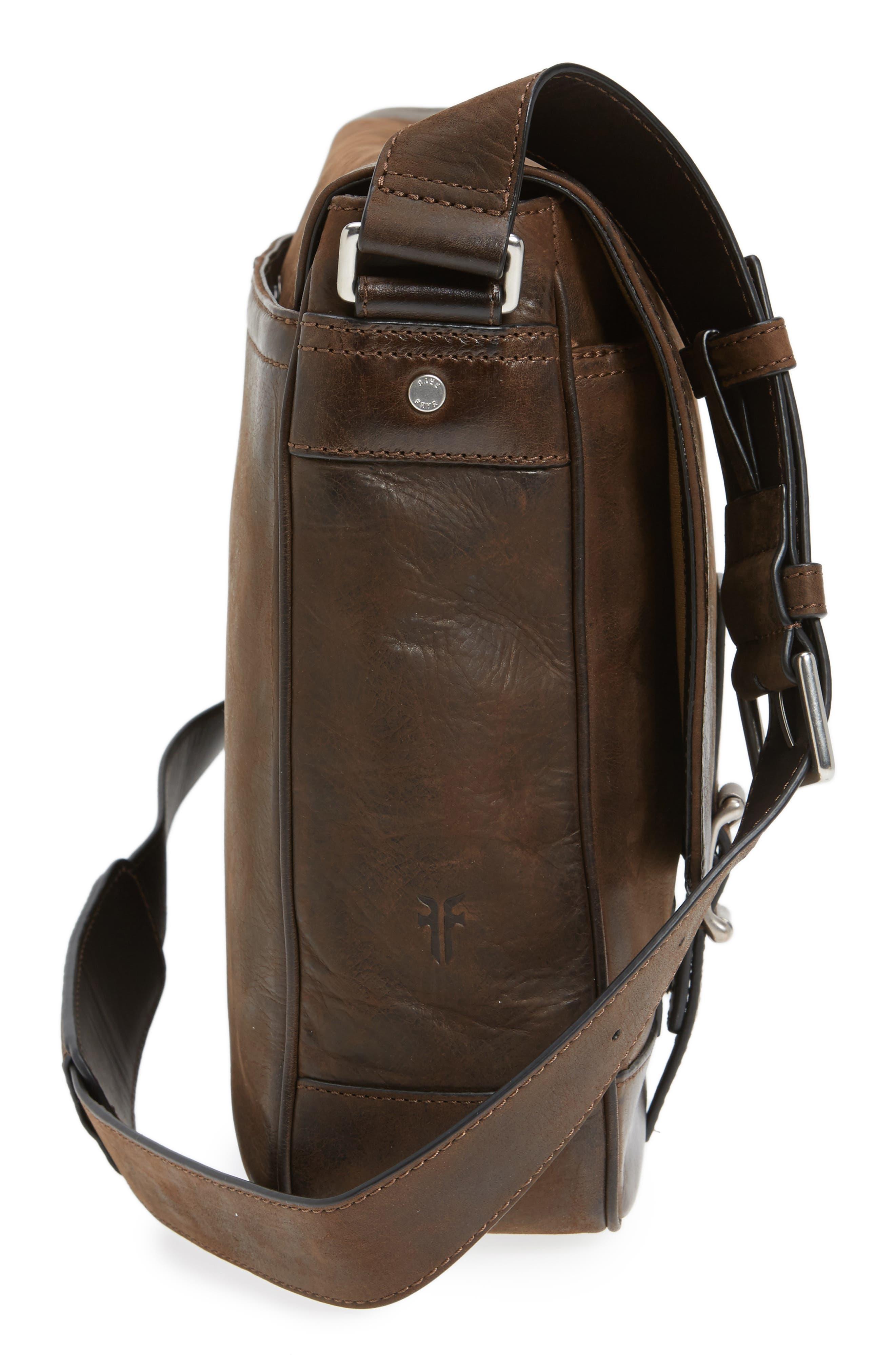 Oliver Leather Messenger Bag,                             Alternate thumbnail 5, color,                             Dark Brown