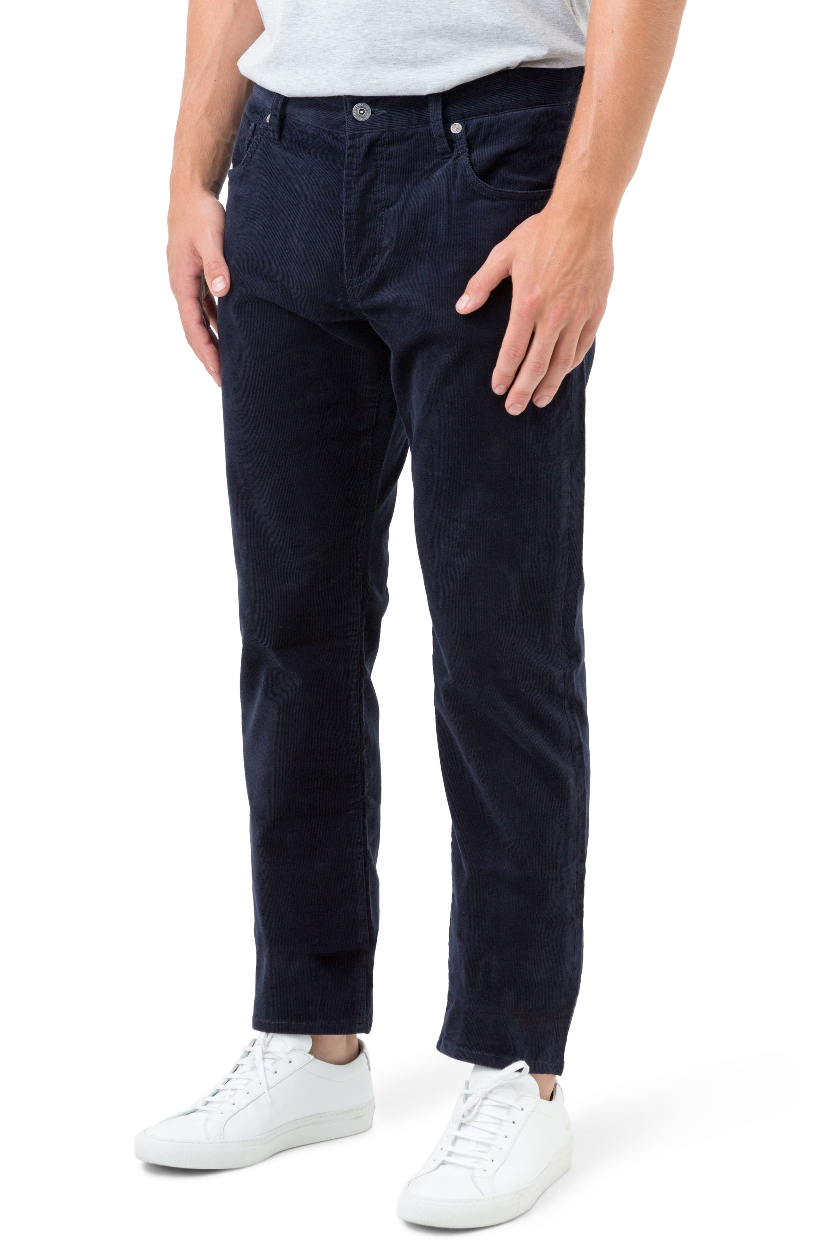 Courtland Slim Fit Corduroy Pants,                             Alternate thumbnail 3, color,                             Navy