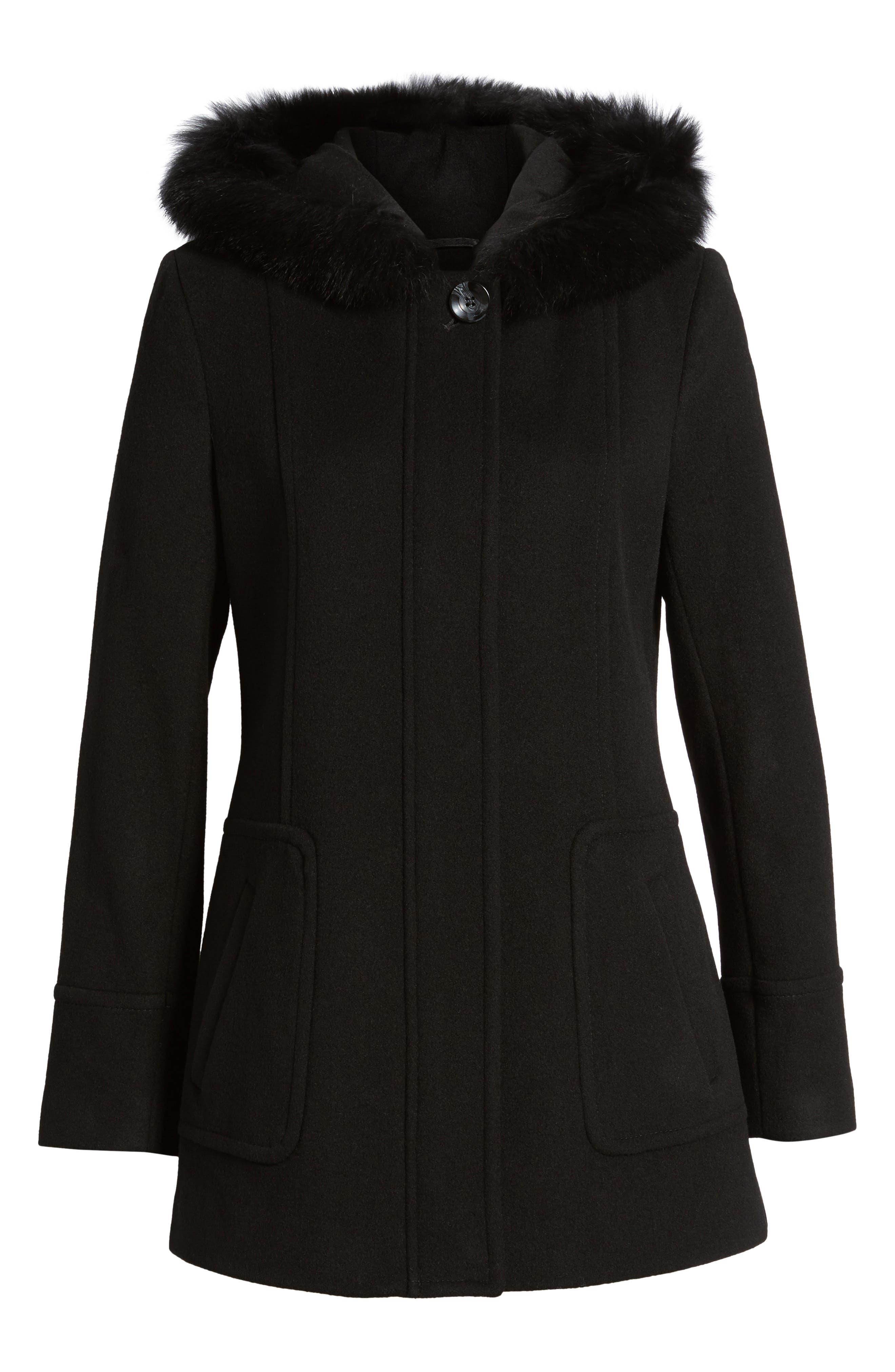 Hooded Wool Blend Coat with Genuine Fox Fur Trim,                             Alternate thumbnail 6, color,                             Black
