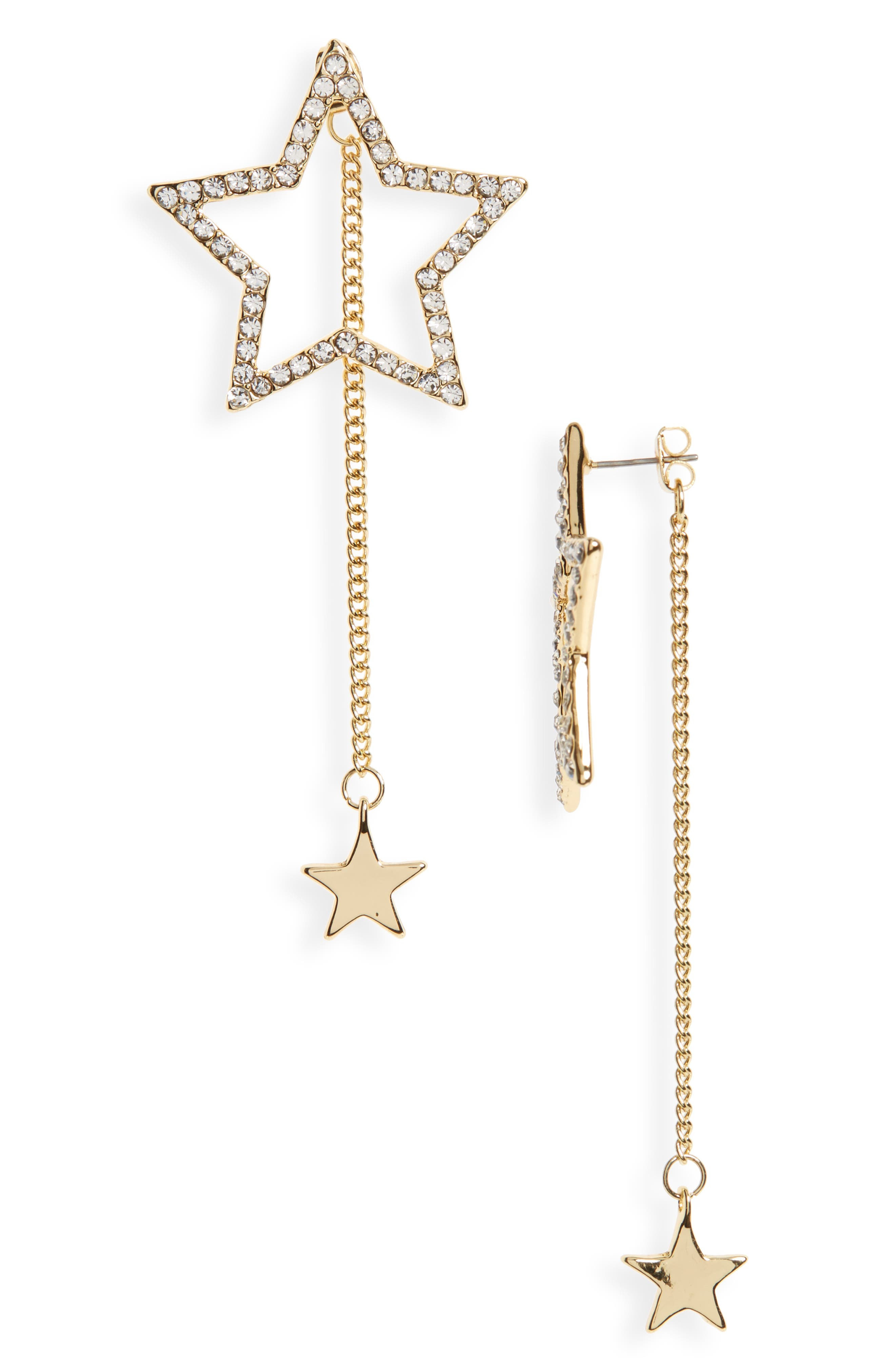 Large Star Statement Earrings,                         Main,                         color, Silver