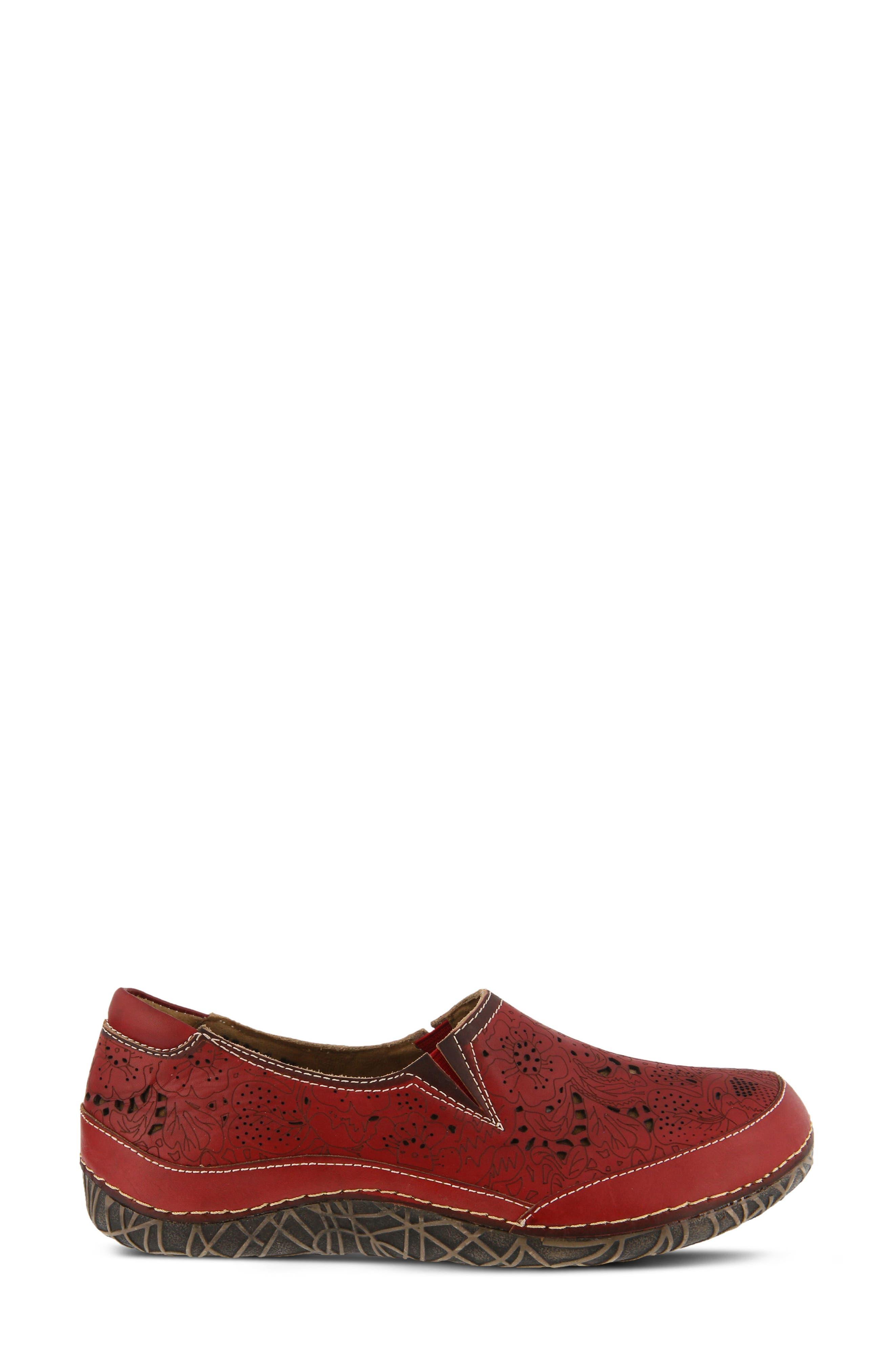 L'Artiste Libora Slip-On Flat,                             Alternate thumbnail 3, color,                             Red Leather