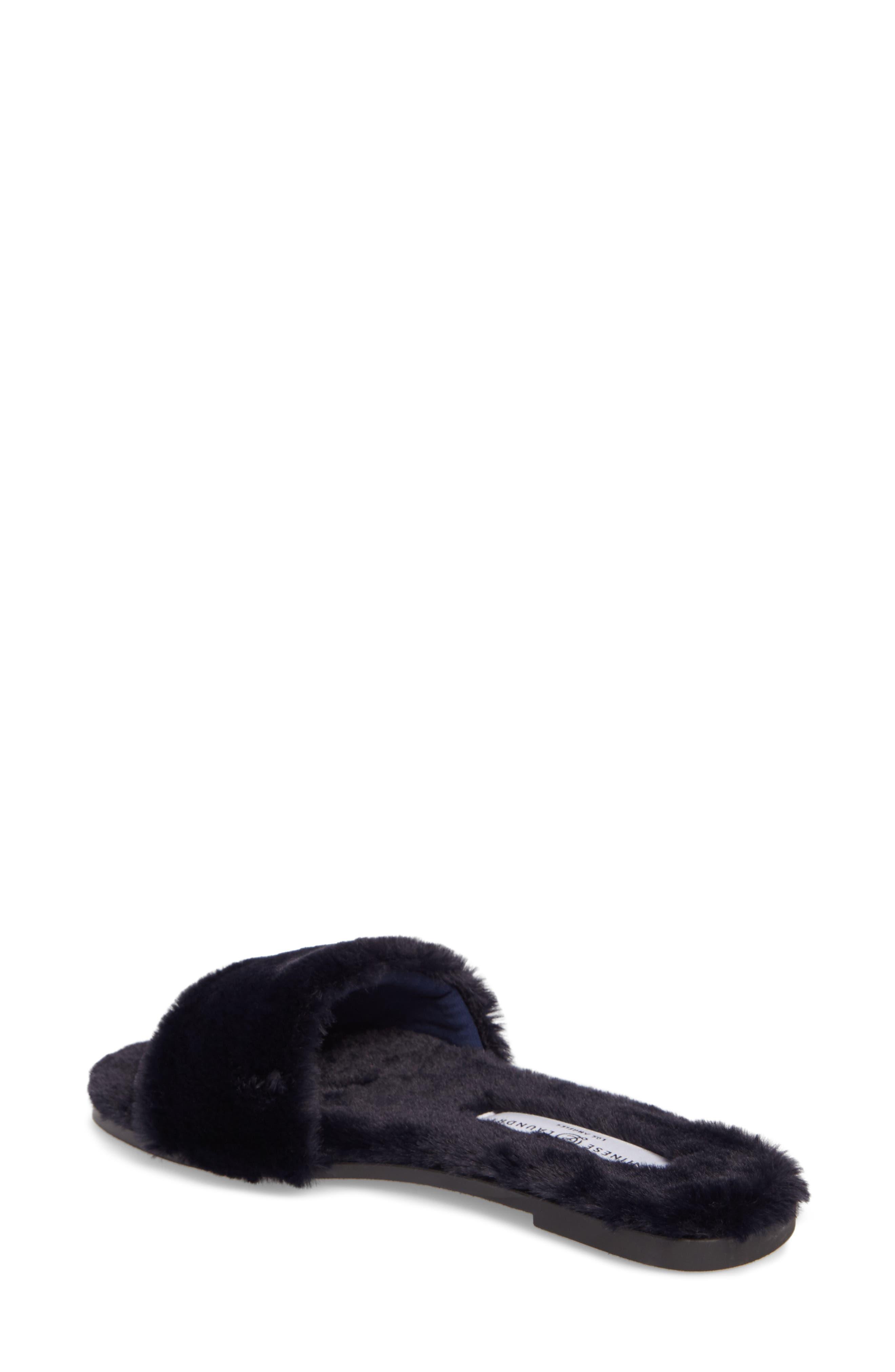 Mulholland Faux Fur Slide Sandal,                             Alternate thumbnail 2, color,                             Navy