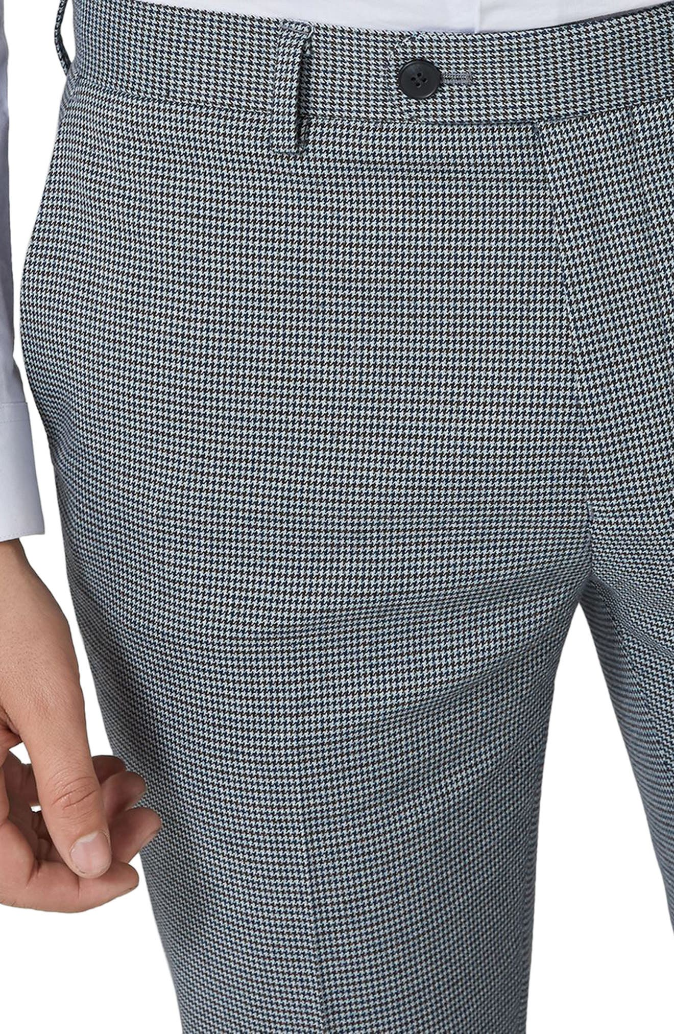 Skinny Fit Houndstooth Suit Trousers,                             Alternate thumbnail 4, color,                             Green Multi