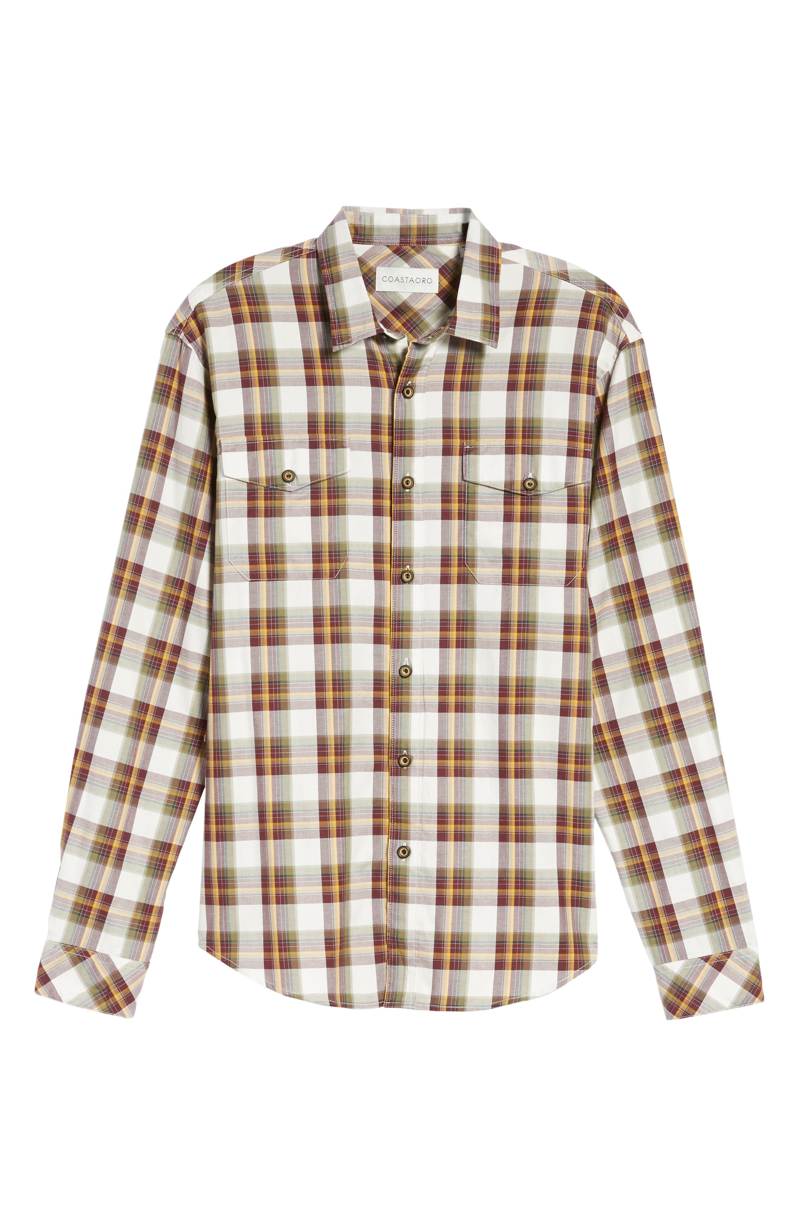 Seacliff Plaid Flannel Shirt,                             Alternate thumbnail 6, color,                             Merlot