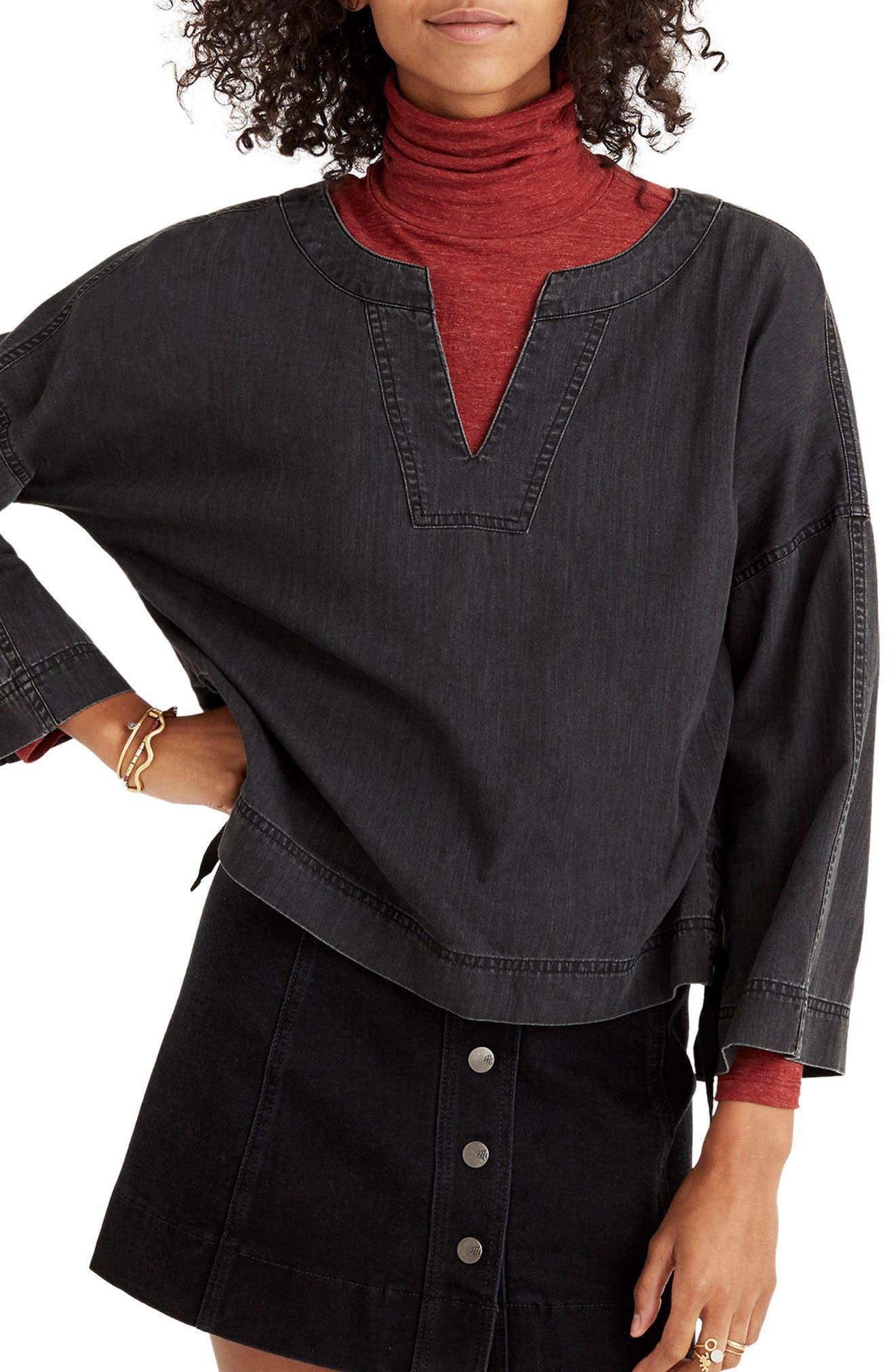 Lace-Up Side Denim Top,                         Main,                         color, Sloan Wash