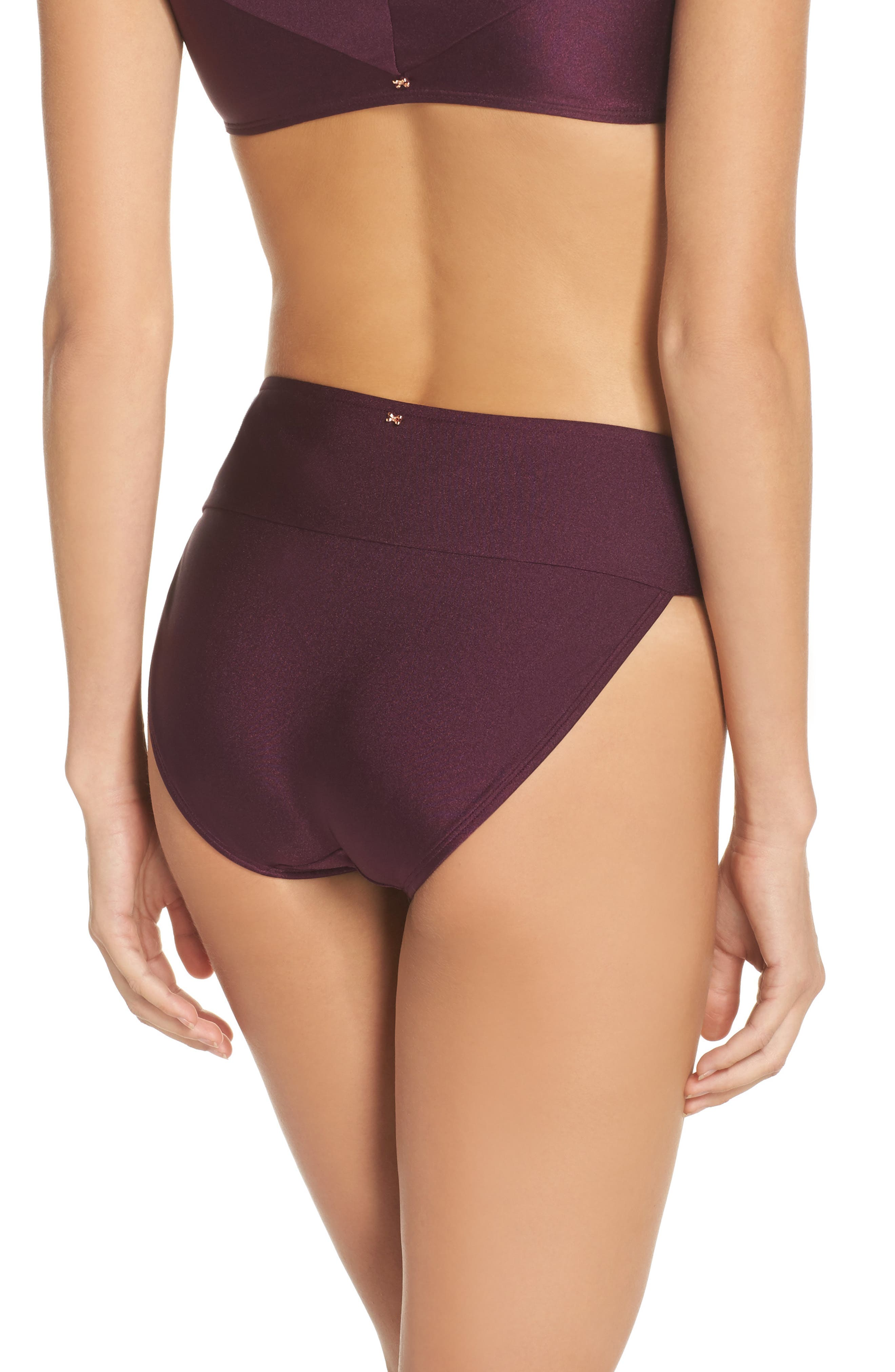 Ted Baker High Waisted Wrap Bikini Bottom,                             Alternate thumbnail 2, color,                             Deep Purple