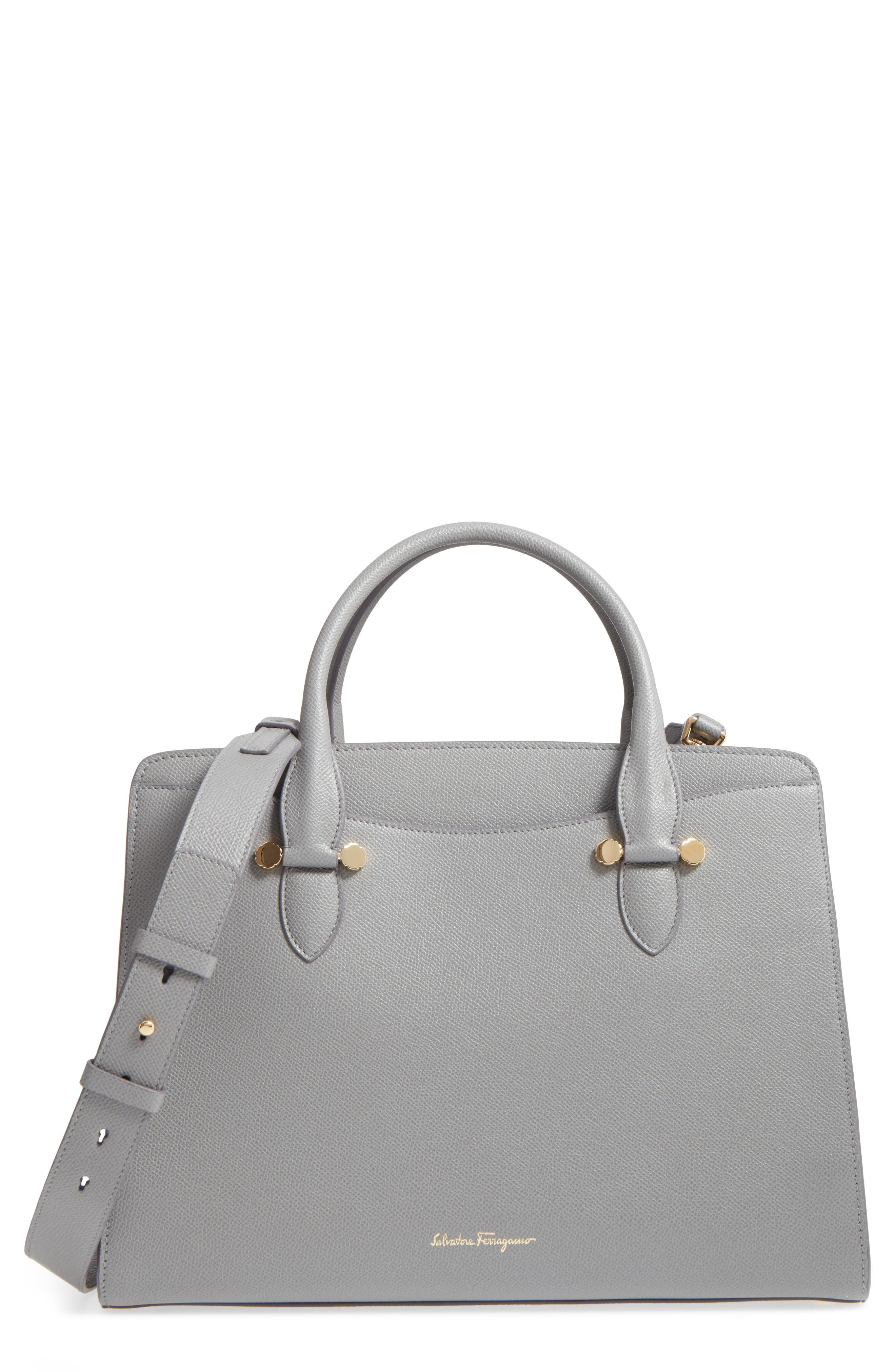 Small Today Leather Satchel,                         Main,                         color, Fossil Grey