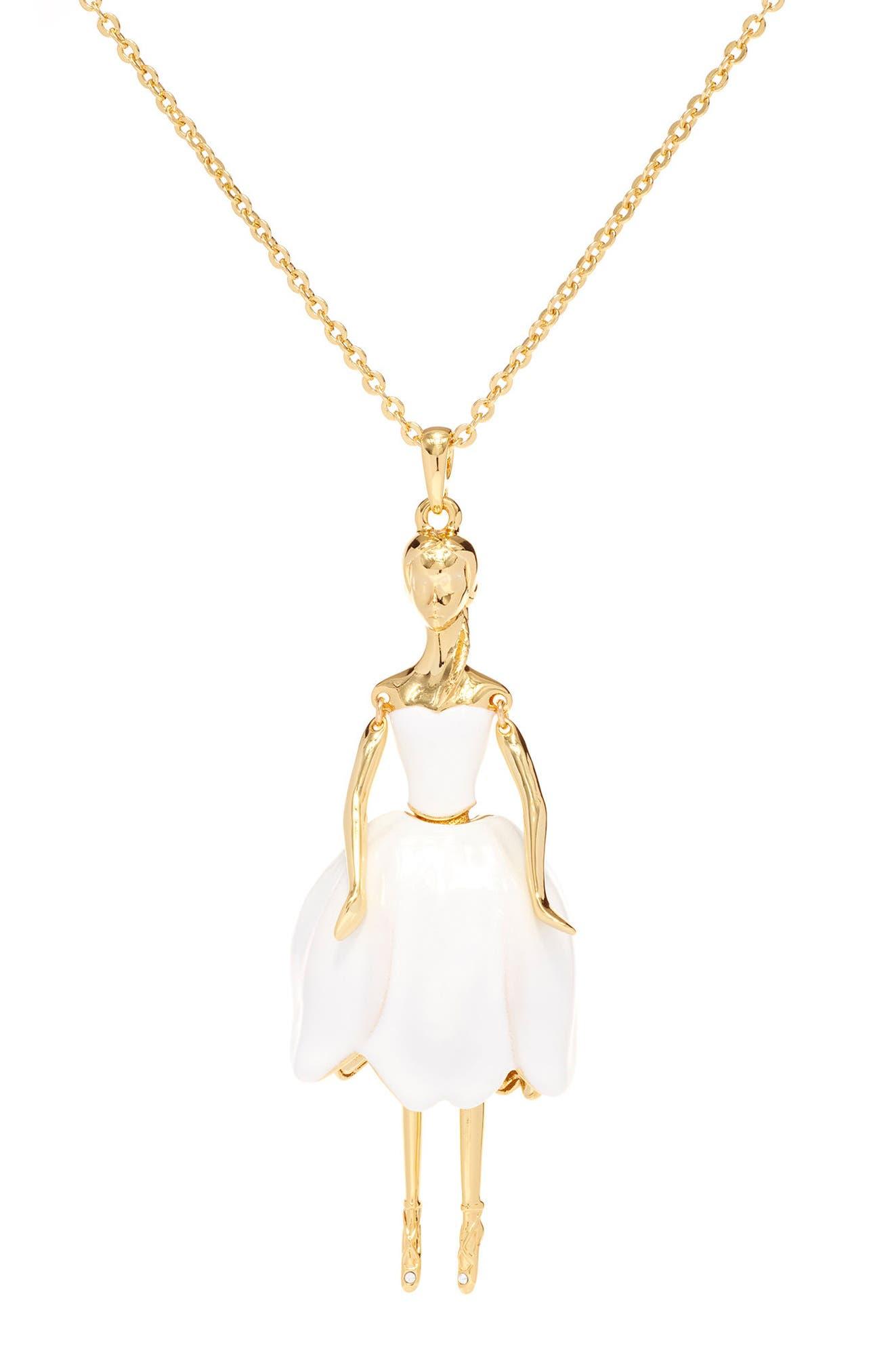 Tuula Ballerina Pendant Necklace,                             Alternate thumbnail 3, color,                             White