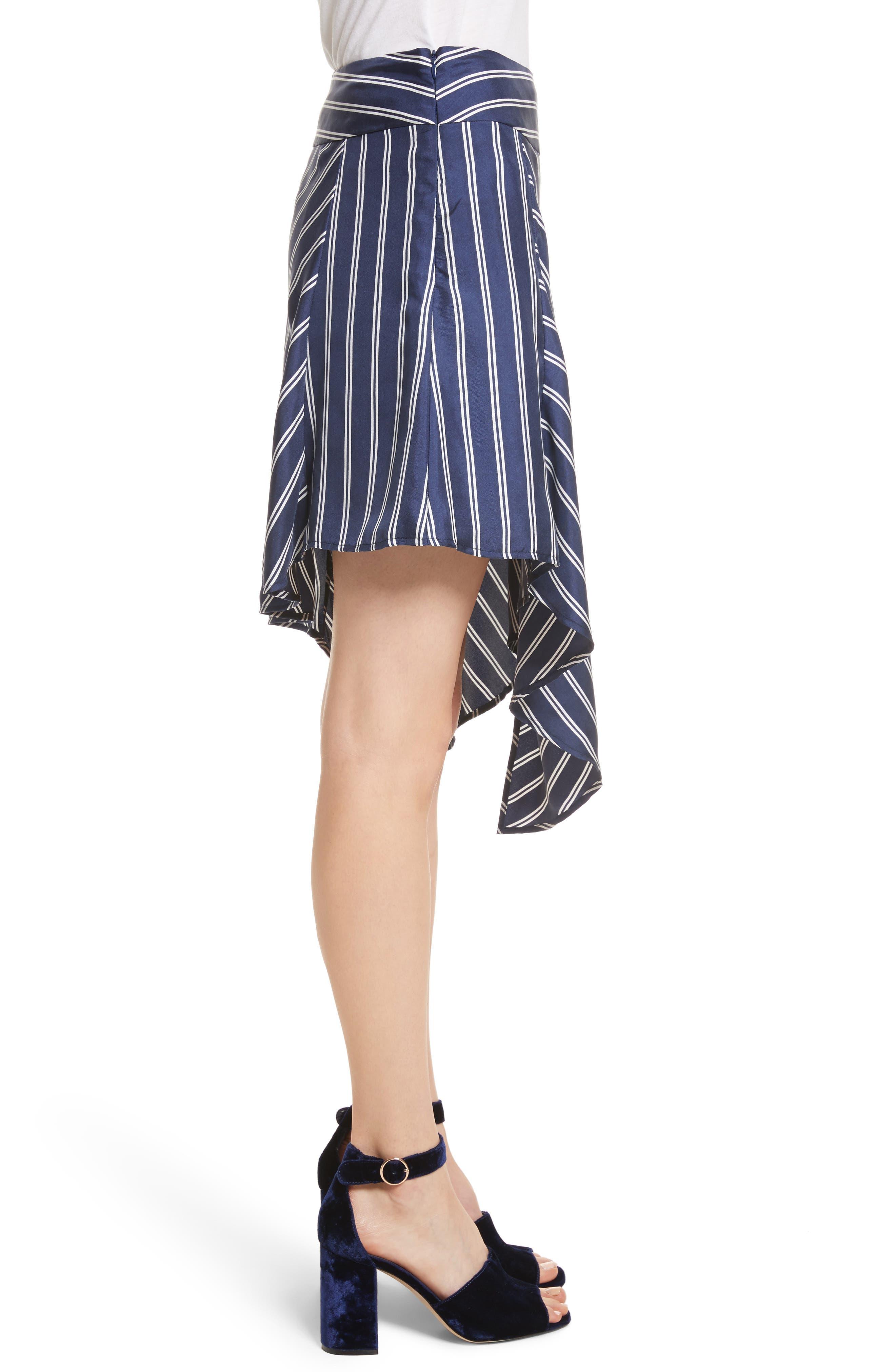 Adelpha Stripe Silk Skirt,                             Alternate thumbnail 3, color,                             Dark Navy