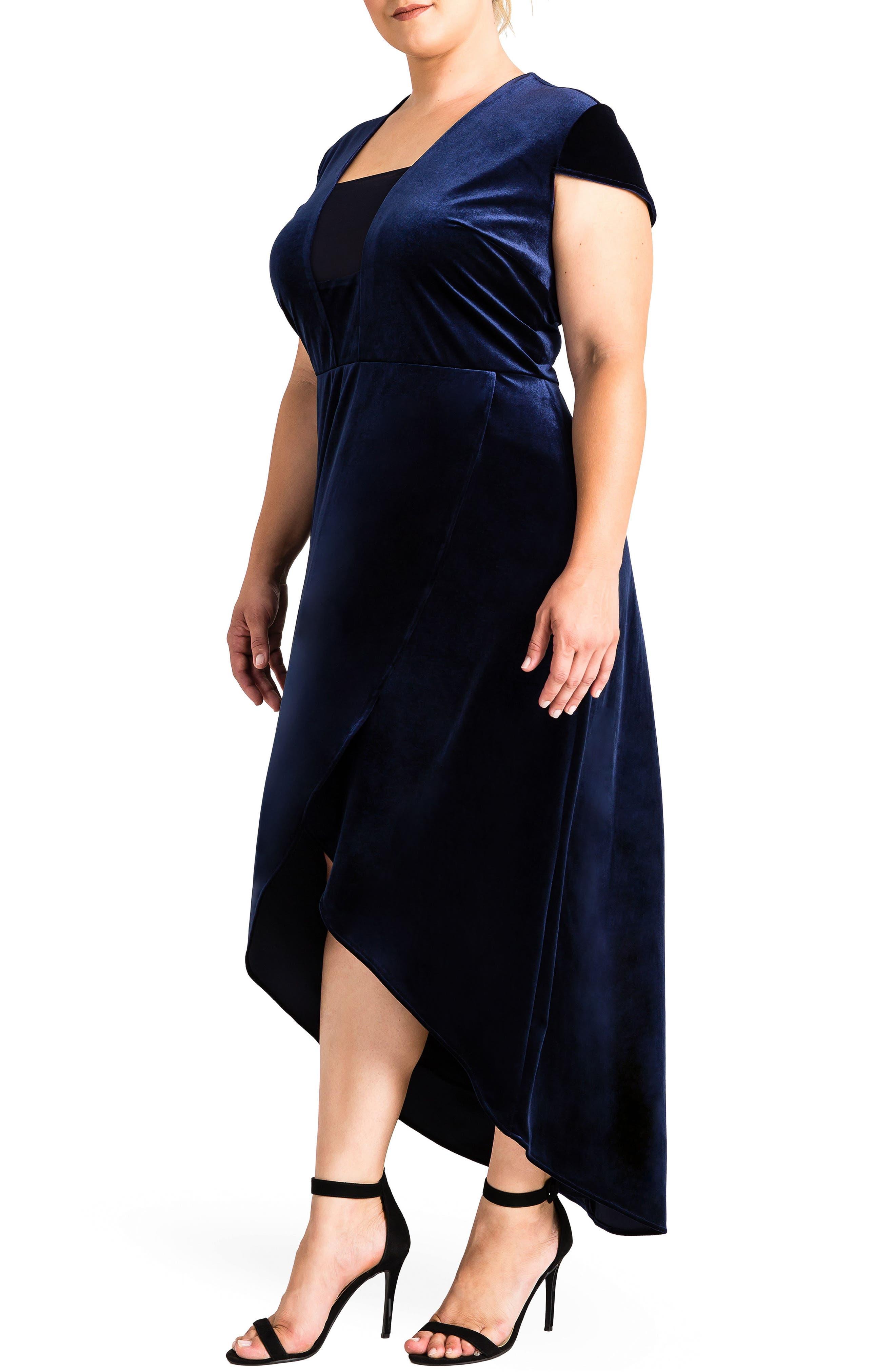 Luna Velvet Dress,                             Alternate thumbnail 3, color,                             Midnight Blue