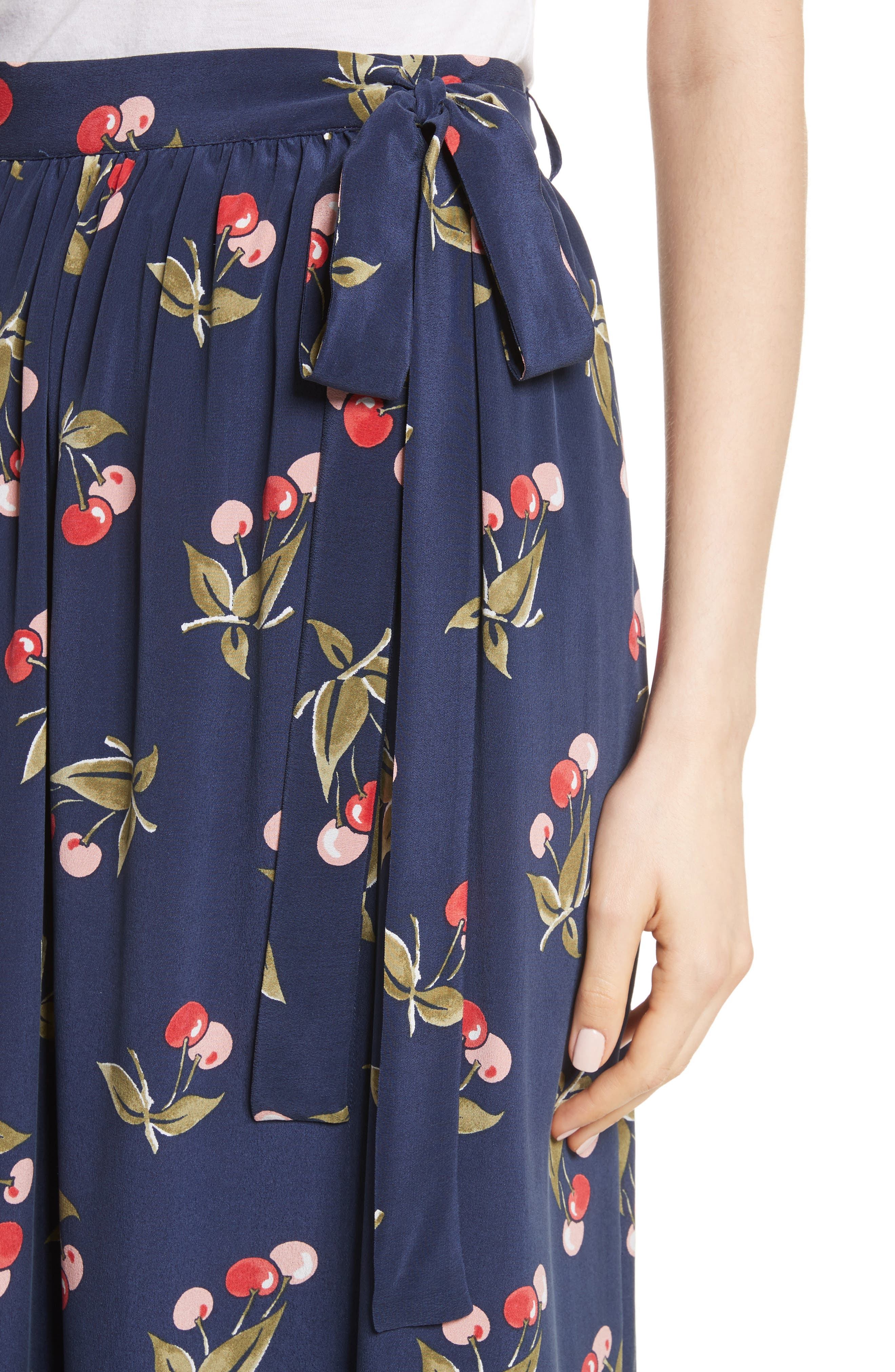 Almudena Cherry Print Silk Wrap Skirt,                             Alternate thumbnail 4, color,                             Dark Navy