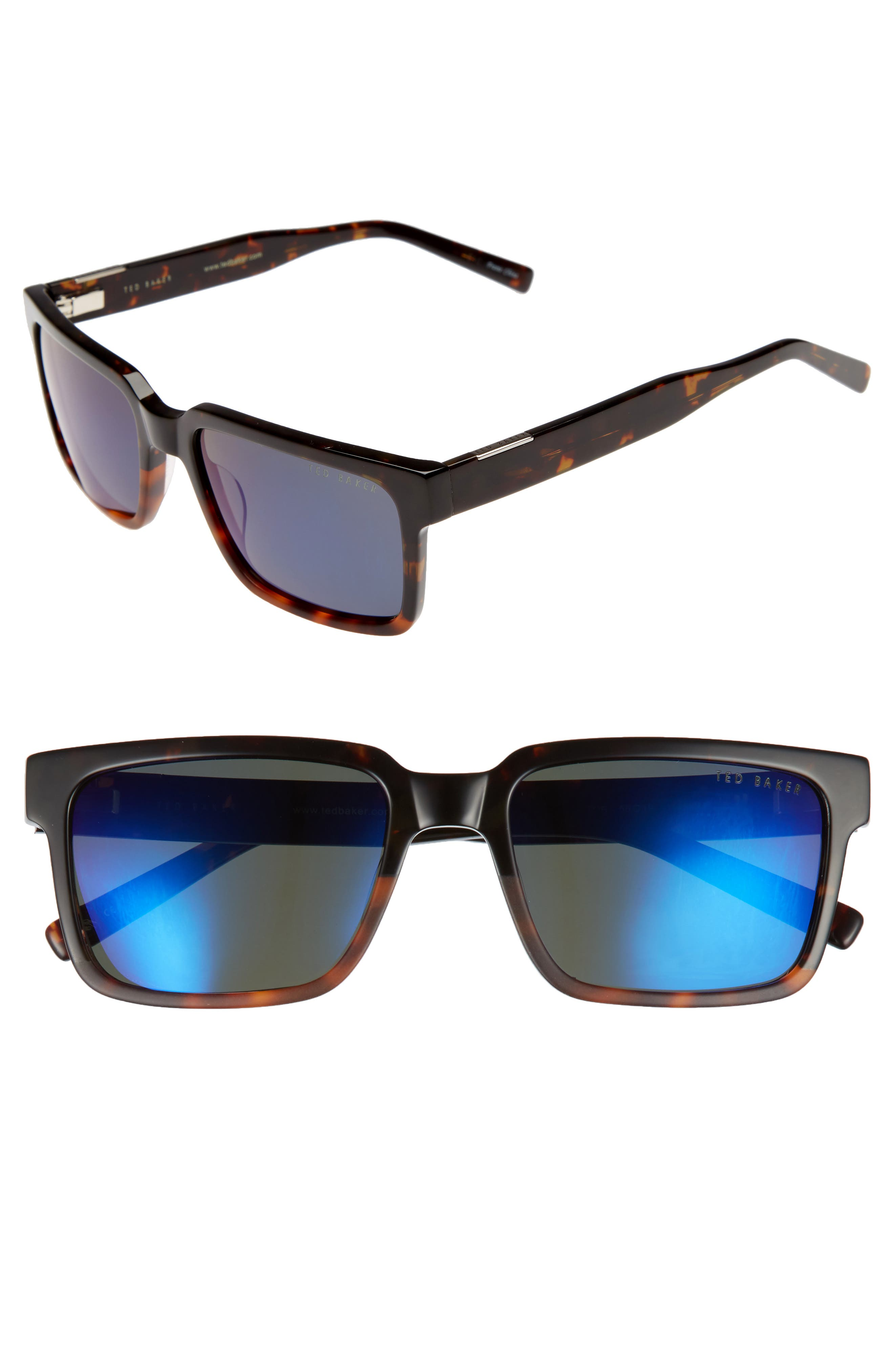 56mm Polarized Rectangular Sunglasses,                             Main thumbnail 1, color,                             Tortoise