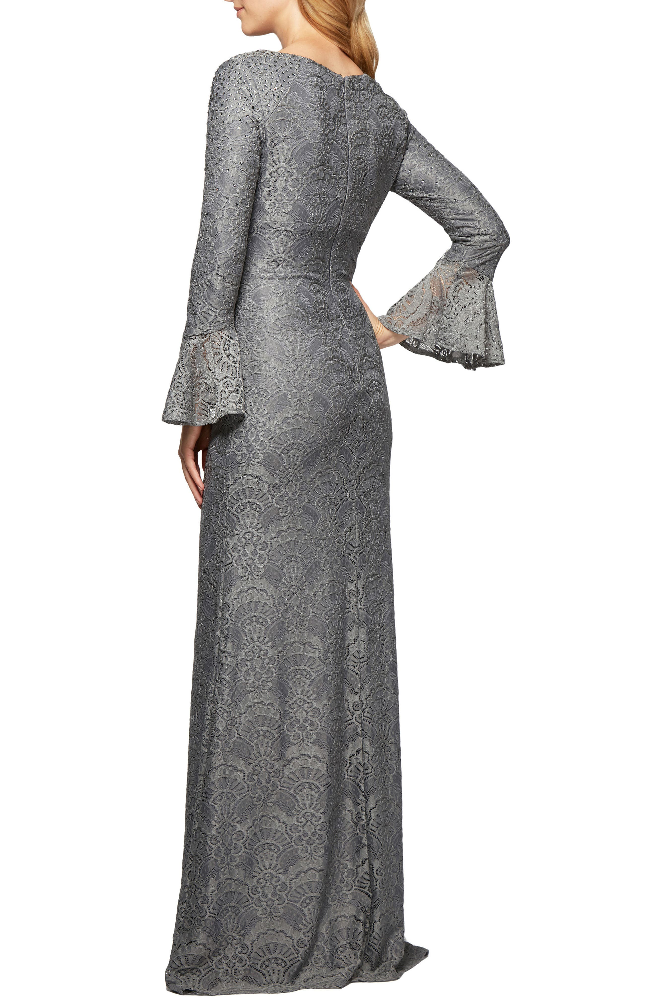 Sequined Lace Gown,                             Alternate thumbnail 2, color,                             Pewter