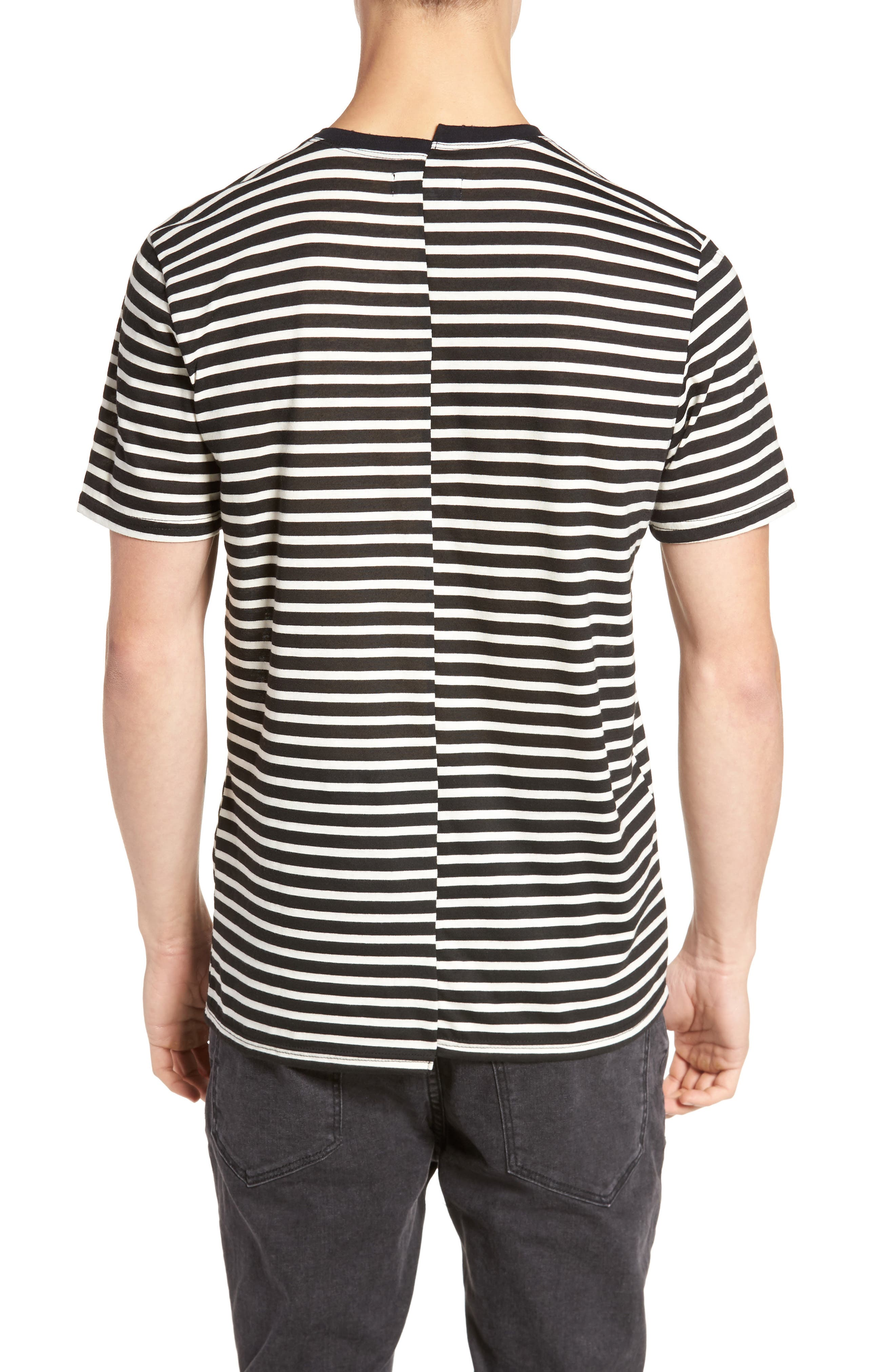 Spliced Stripe T-Shirt,                             Alternate thumbnail 2, color,                             Black Rock- White Stripe
