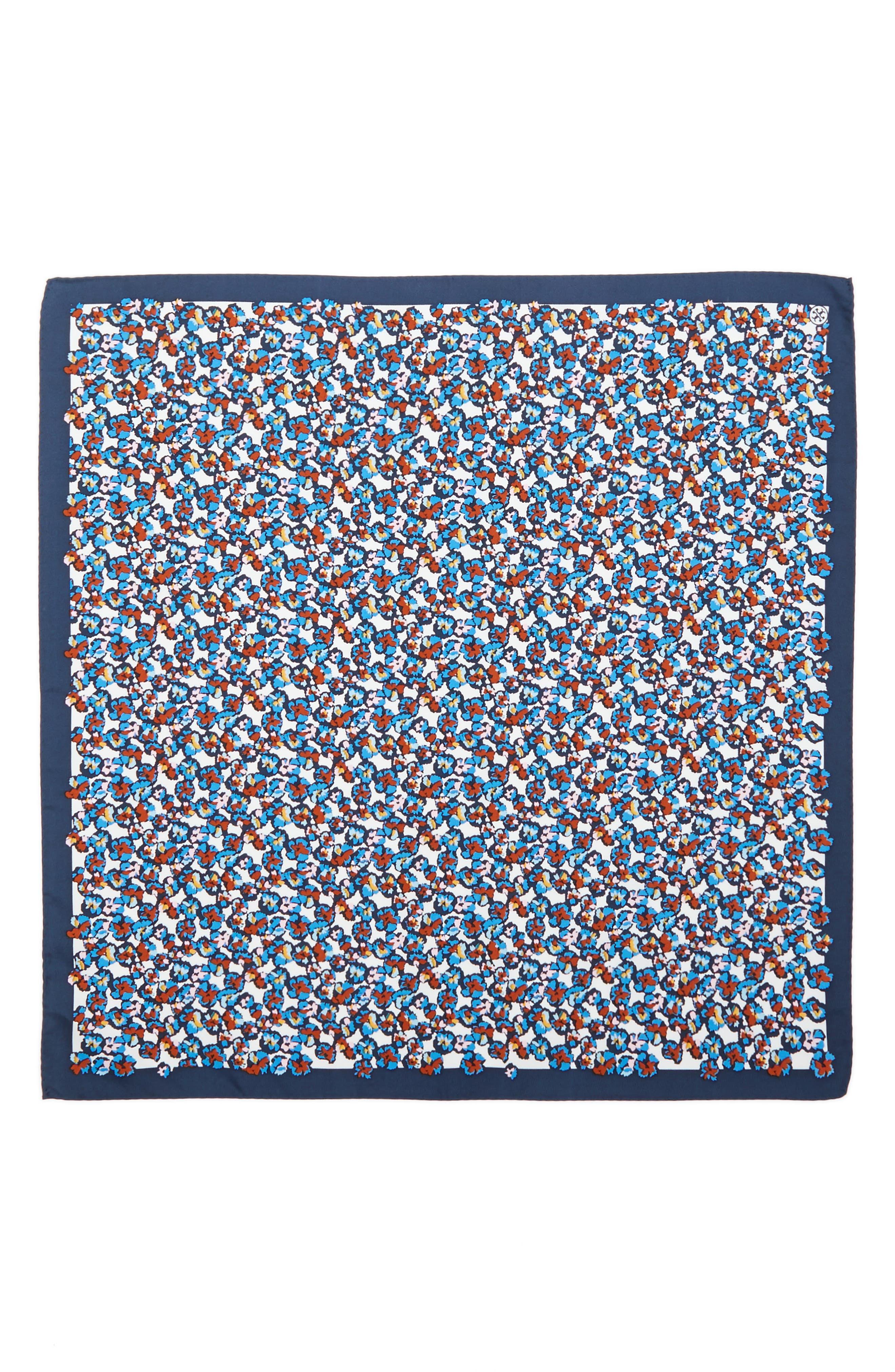 Carnation Neckerchief Silk Scarf,                             Alternate thumbnail 3, color,                             Blue Carnation