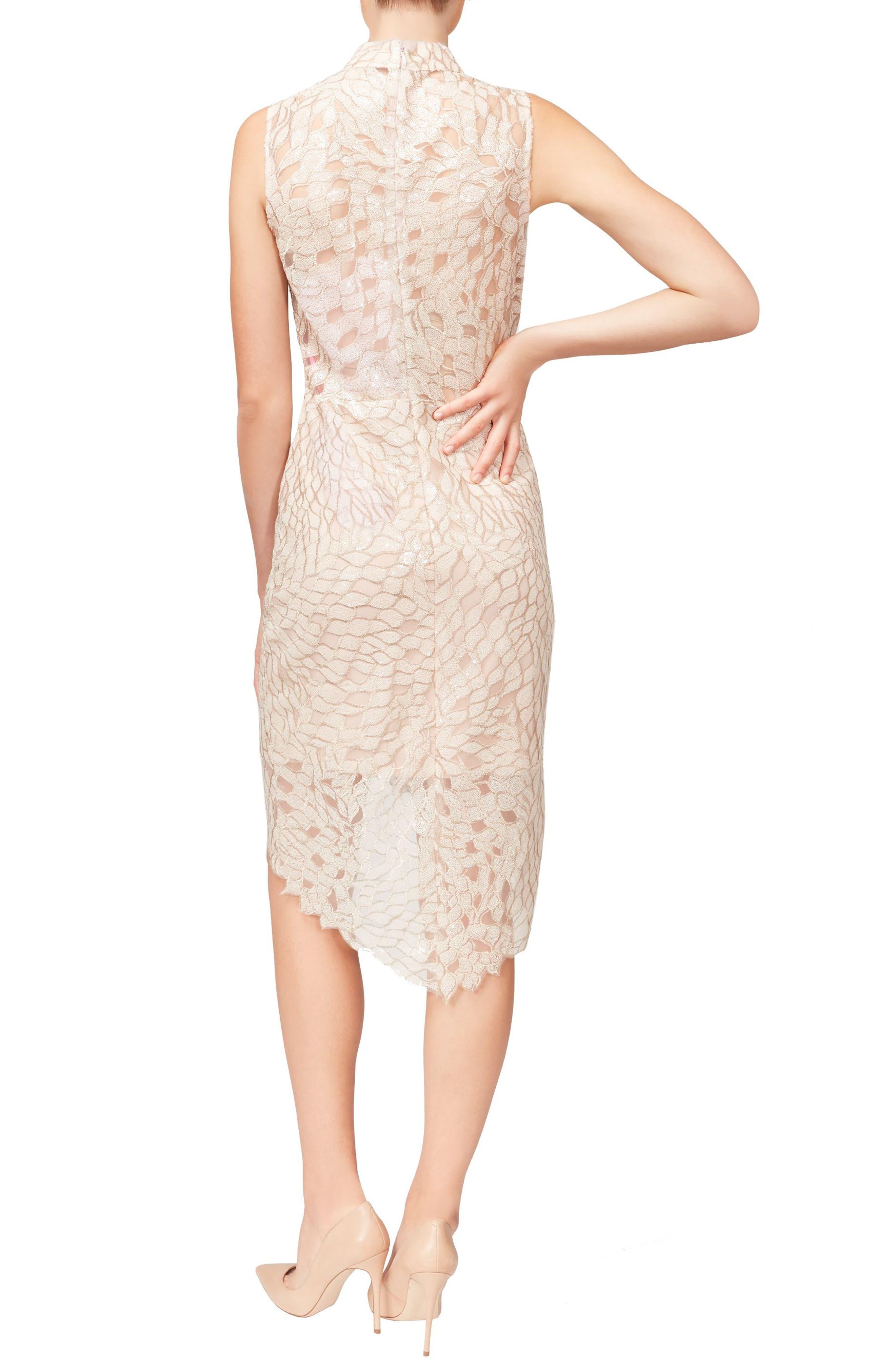 Sequin High/Low Dress,                             Alternate thumbnail 2, color,                             Peach