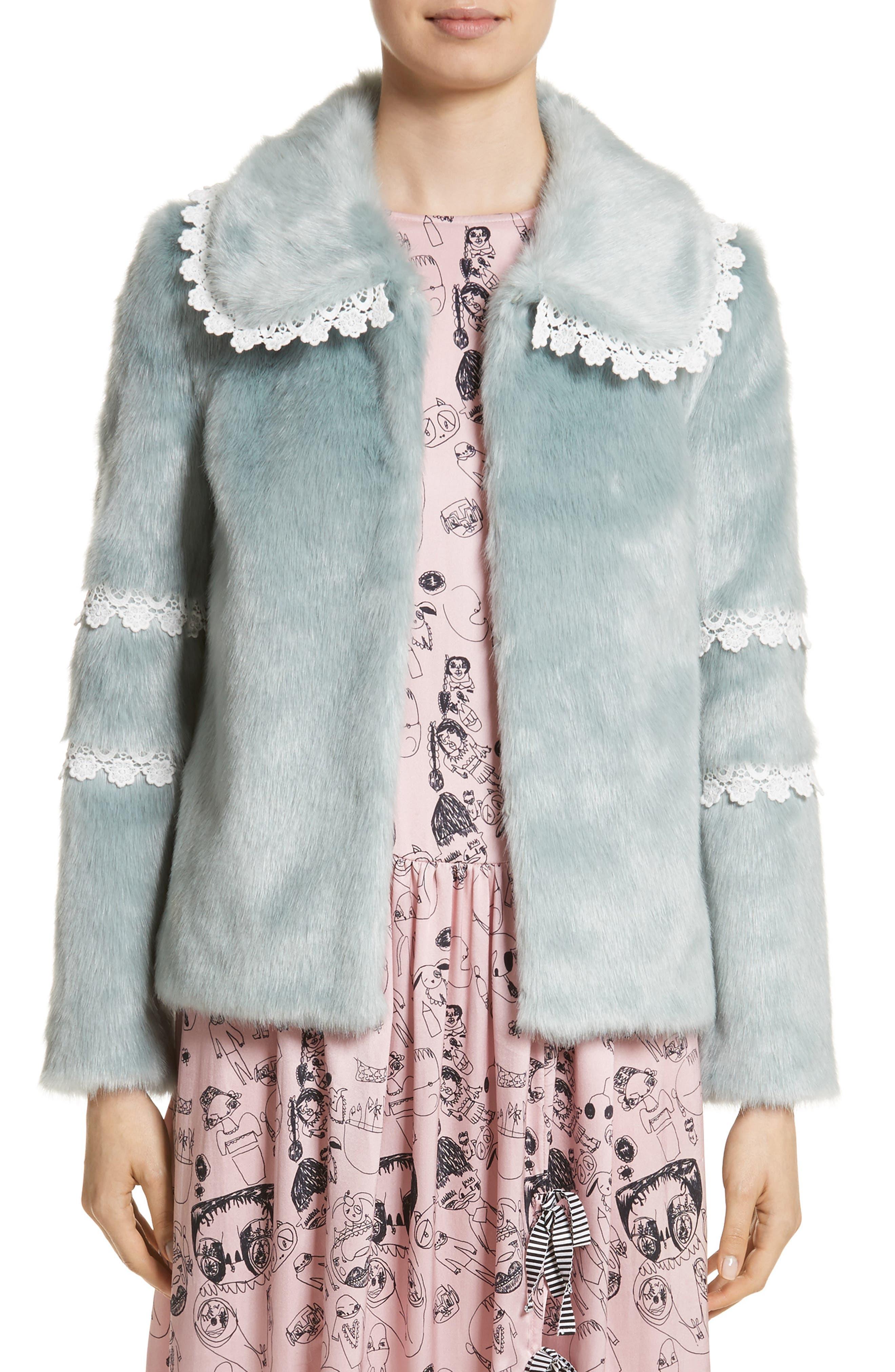 Ezra Crochet Trim Faux Fur Jacket,                         Main,                         color, Mint