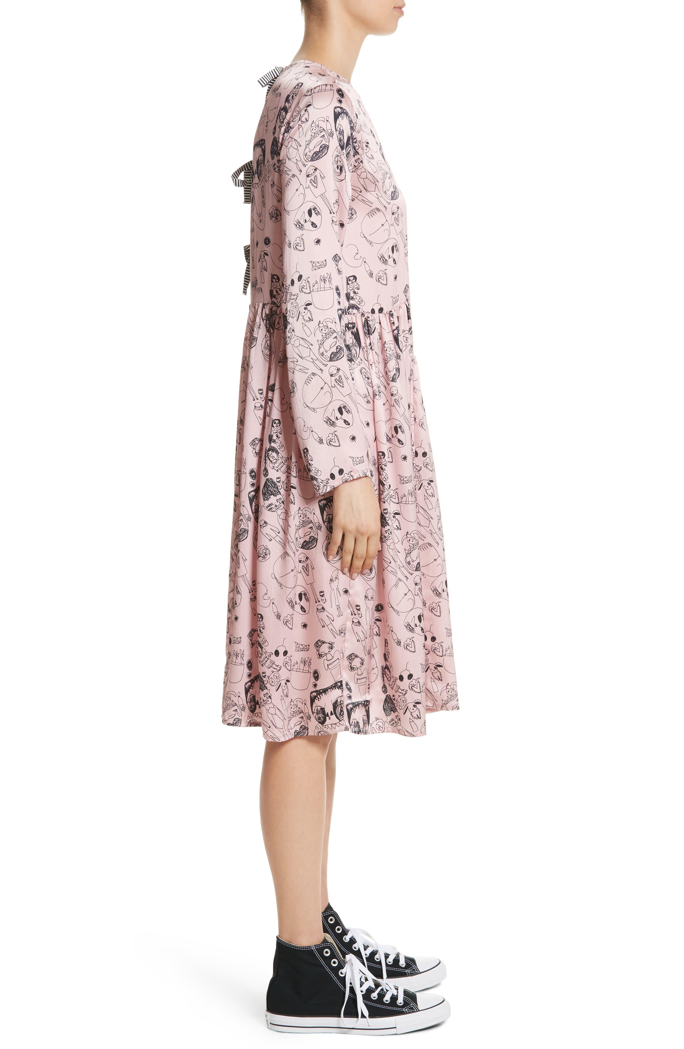 Heather Print Silk Dress,                             Alternate thumbnail 3, color,                             Rosette / Black