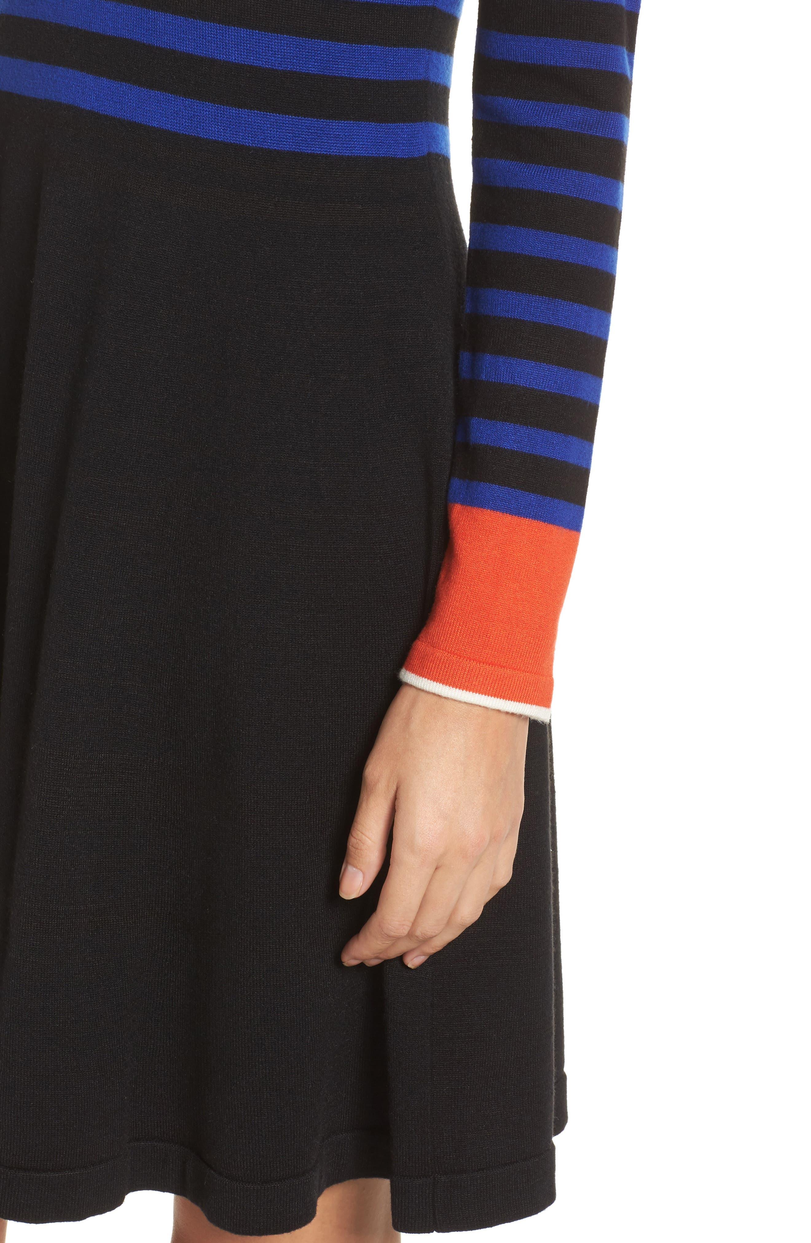 Stripe Sweater Fit & Flare Dress,                             Alternate thumbnail 4, color,                             Black
