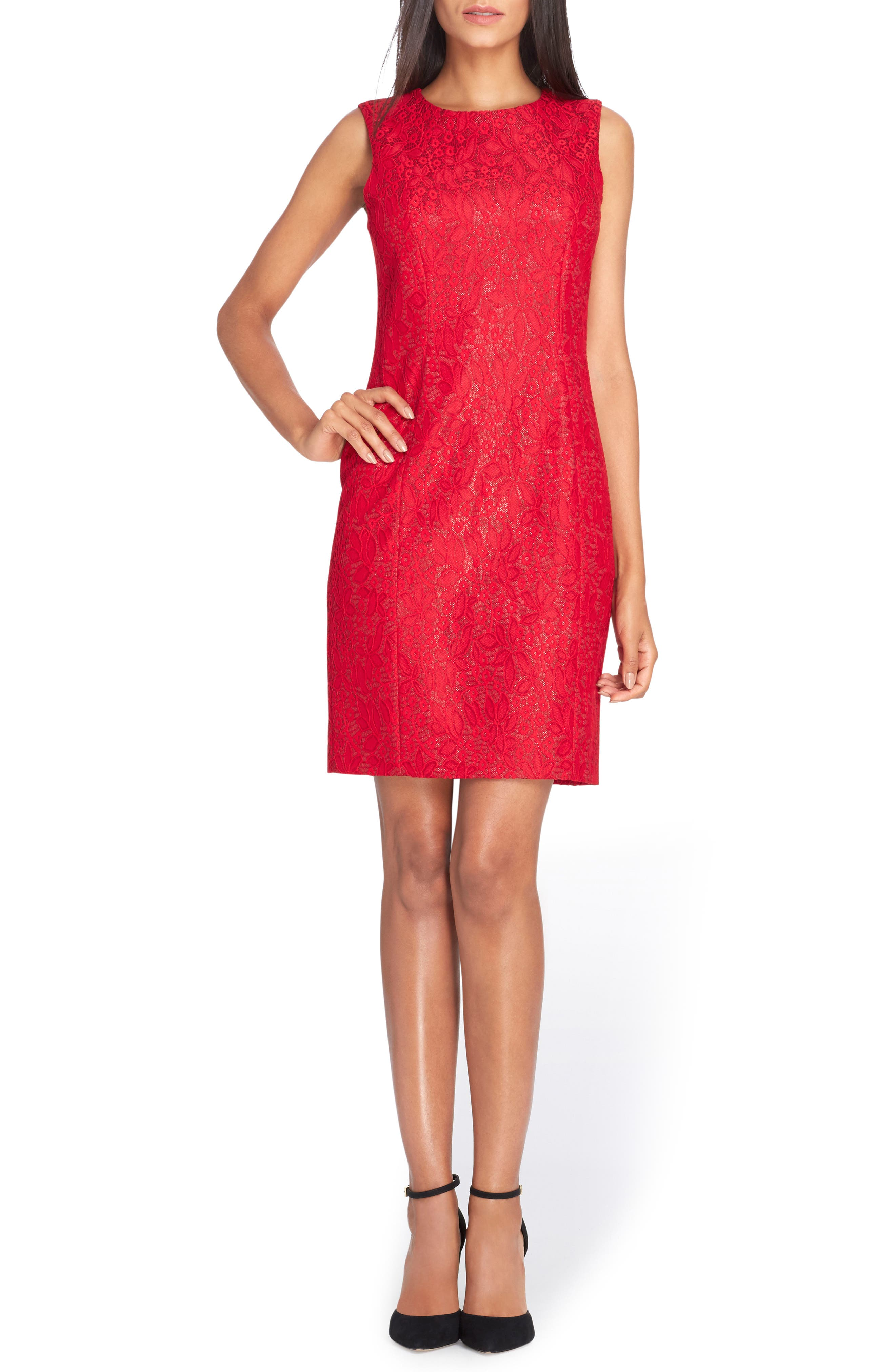 Bonded Lace Sheath Dress,                         Main,                         color, Lipstick Red