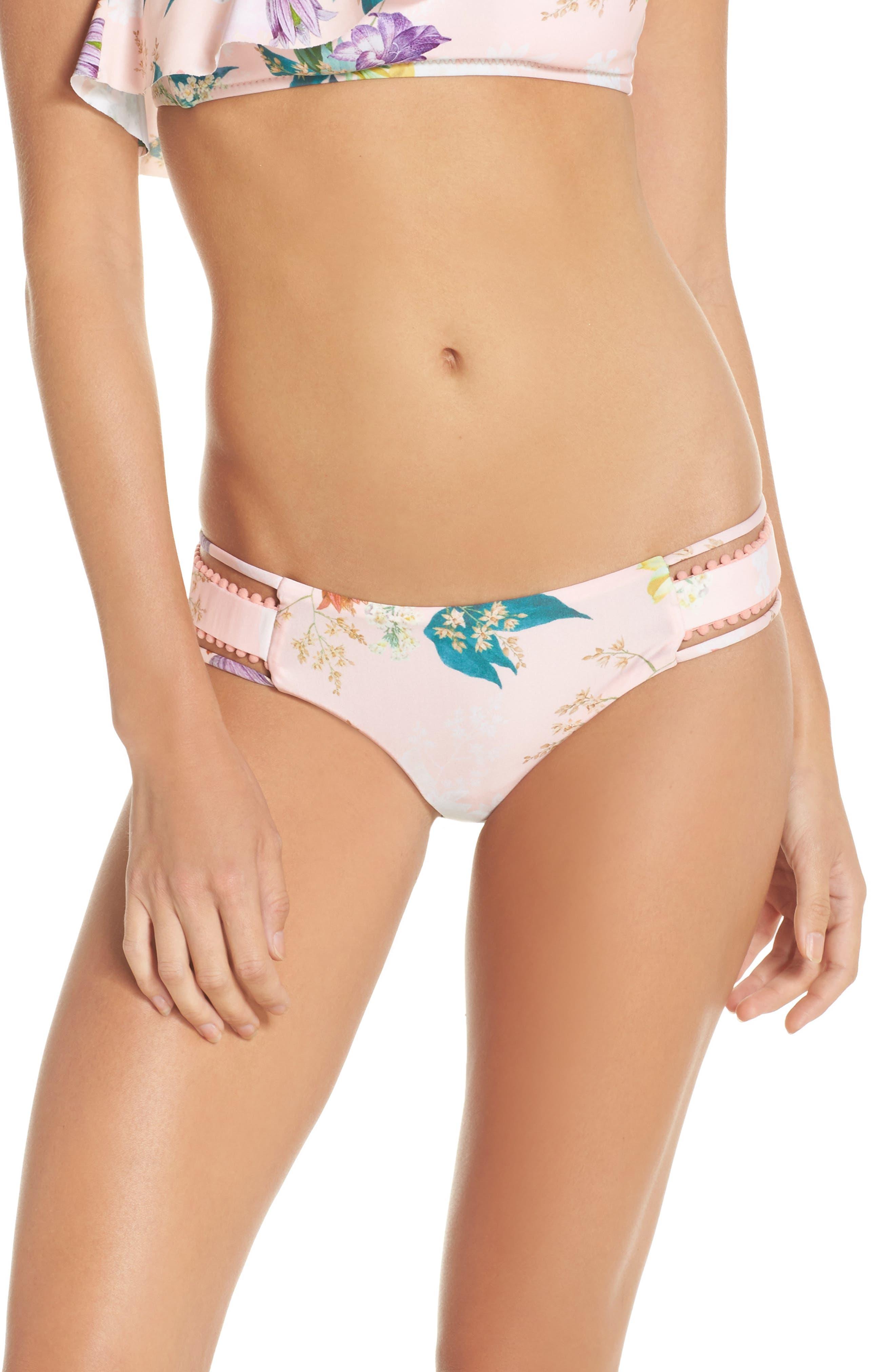 Blossoms Bikini Bottoms,                         Main,                         color, Coral Multi