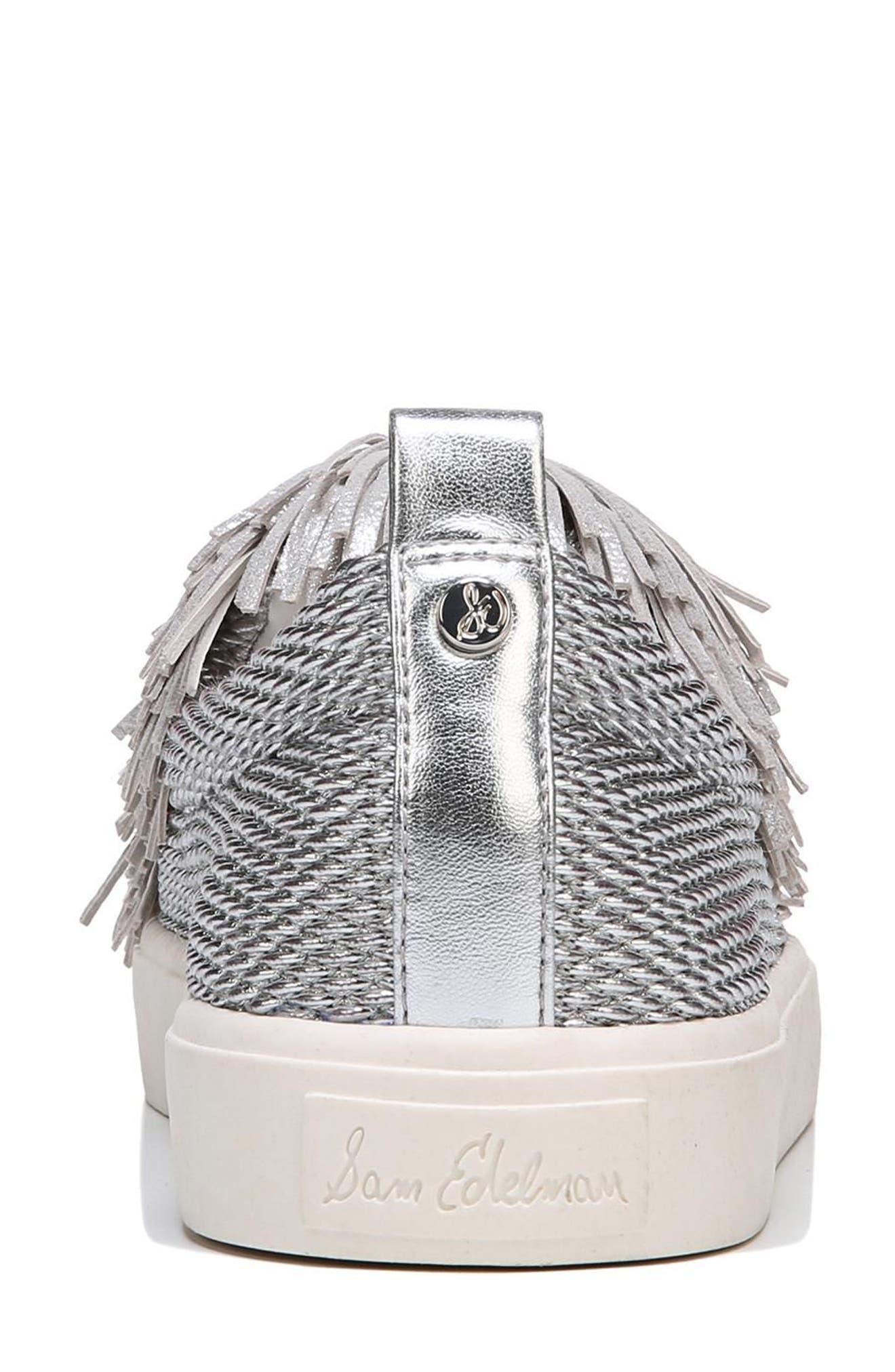 Emory Fringe Pompom Sneaker,                             Alternate thumbnail 6, color,                             Metallic Silver
