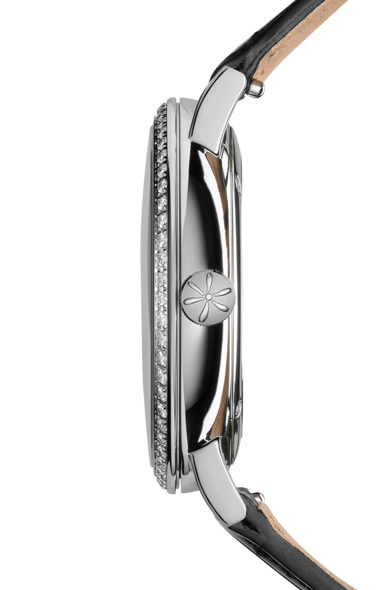The Agnes Varies Diamond Alligator Strap Watch, 32mm,                             Alternate thumbnail 3, color,                             Black/ Mop/ Silver