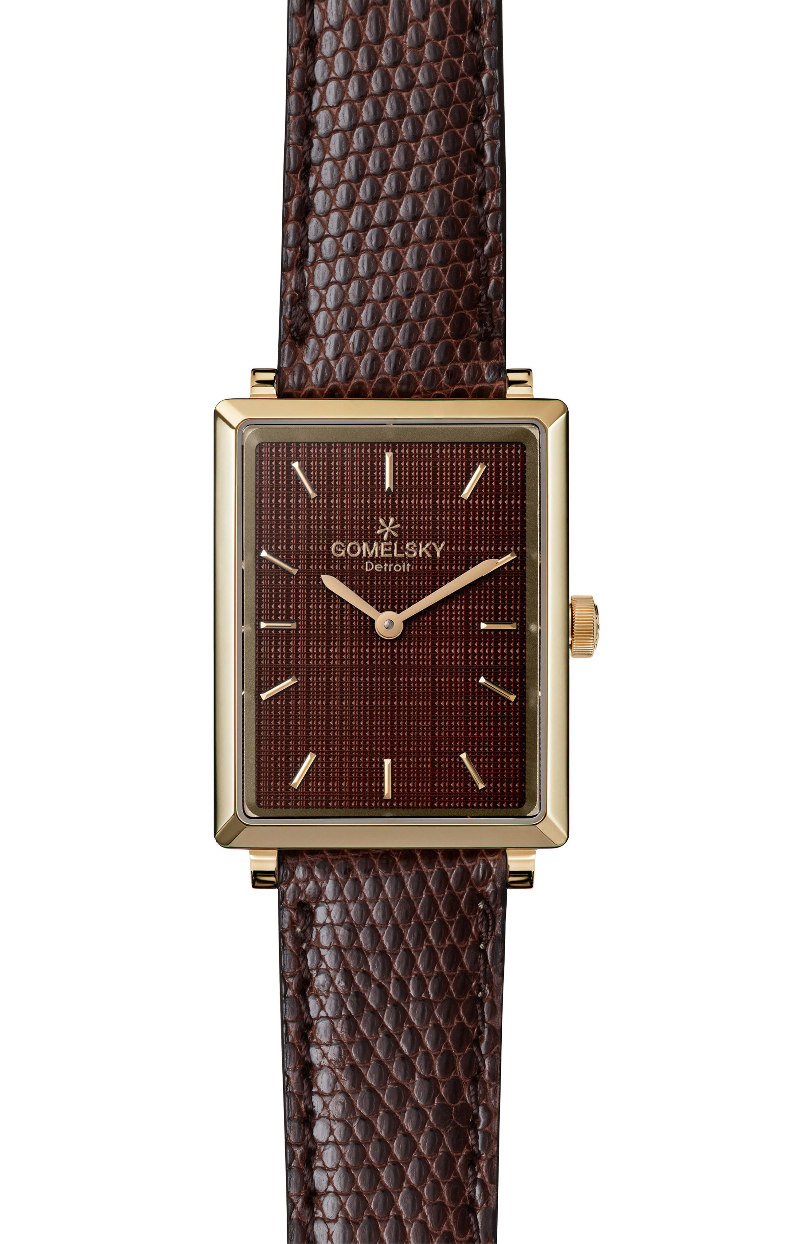 The Shirley Fromer Leather Strap Watch, 32mm x 25mm,                         Main,                         color, Dark Brown/ Gold