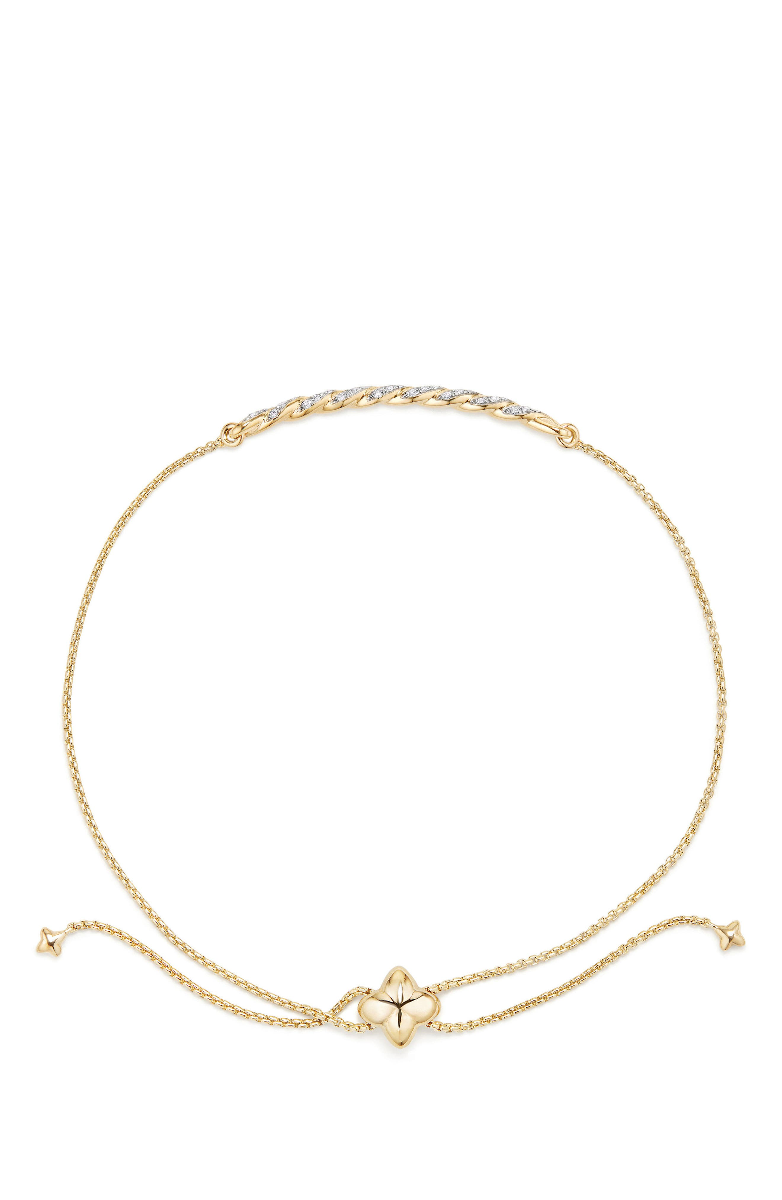 Paveflex Station Bracelet with Diamonds in 18K Gold,                             Alternate thumbnail 2, color,                             Yellow Gold/ Diamond