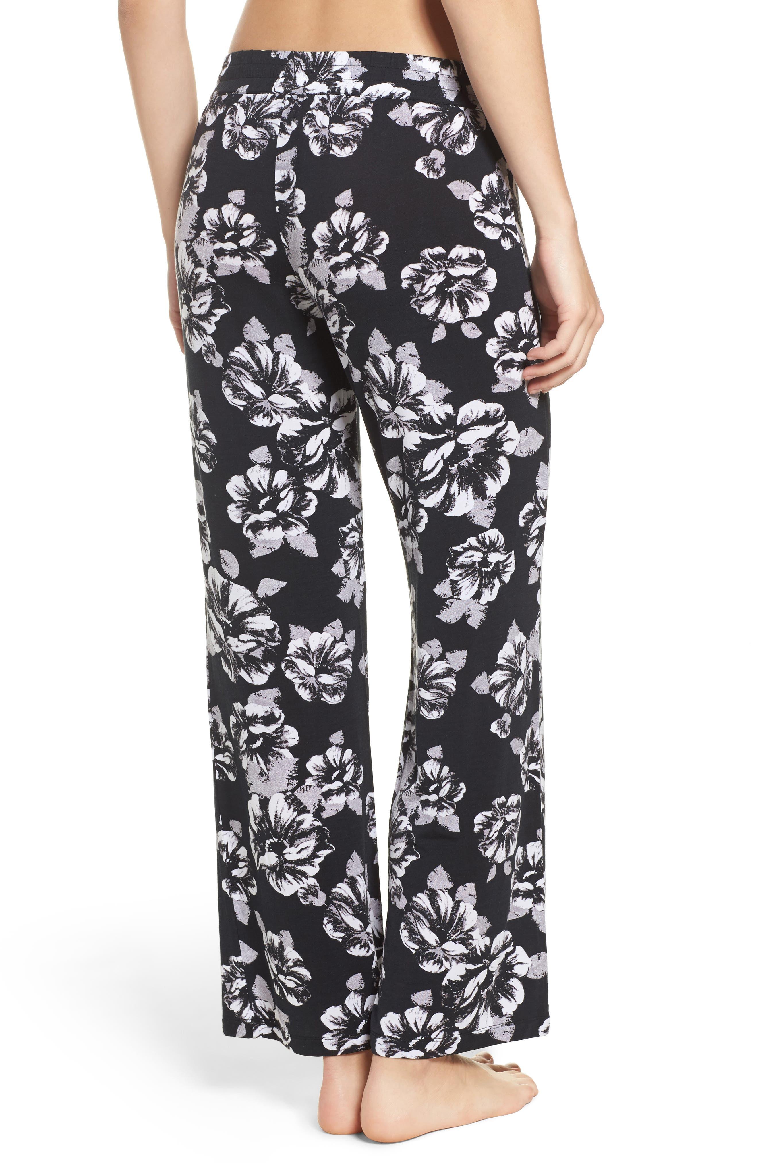 Floral Pajama Pants,                             Alternate thumbnail 2, color,                             Black