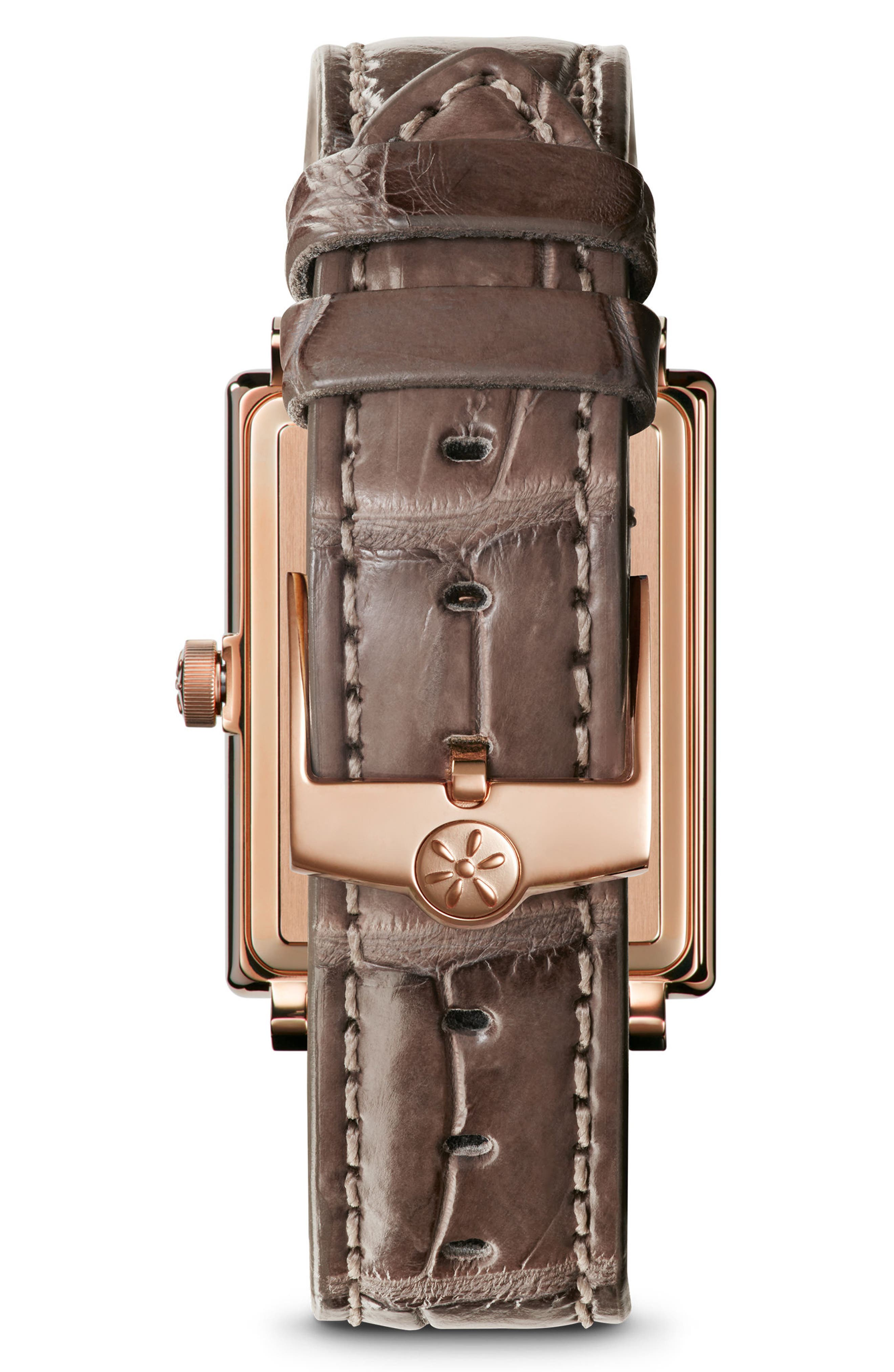 The Shirley Fromer Diamond Alligator Strap Watch, 25mm x 32mm,                             Alternate thumbnail 3, color,                             Grey/ Mop/ Rose Gold