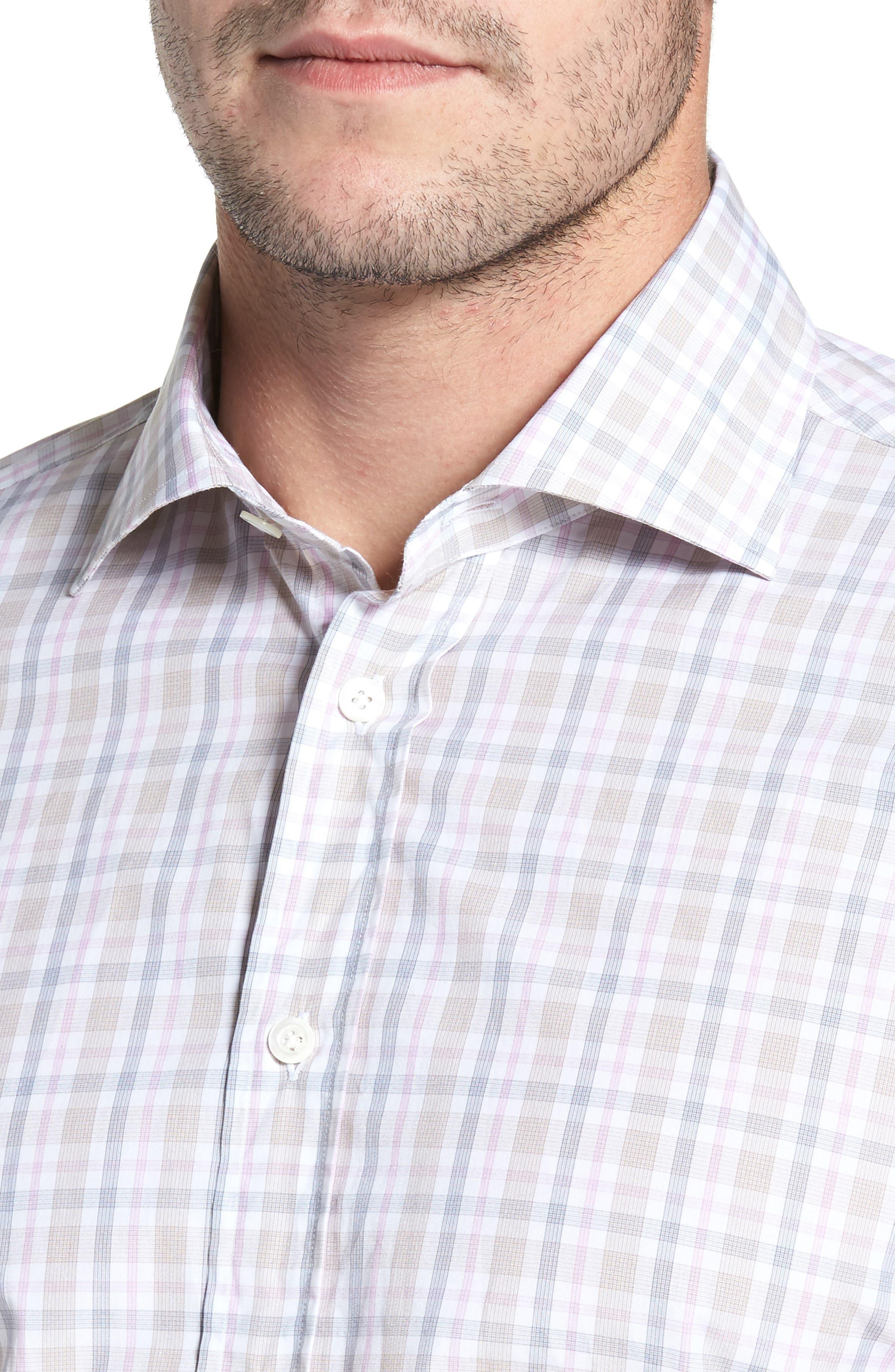 Classic Fit Check Sport Shirt,                             Alternate thumbnail 4, color,                             Tan
